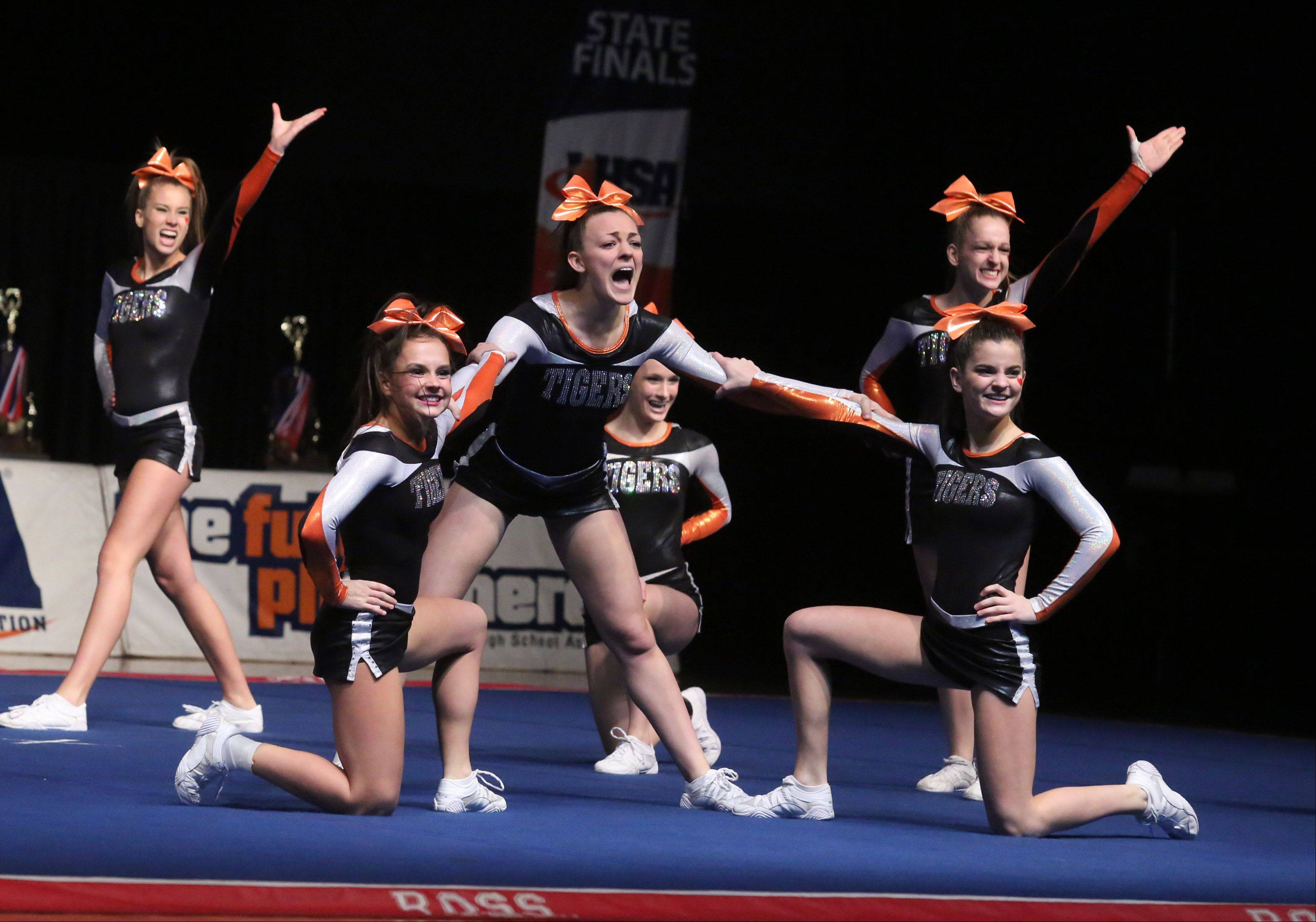 Crystal Lake Central High School's cheer team performs in the medium team category.