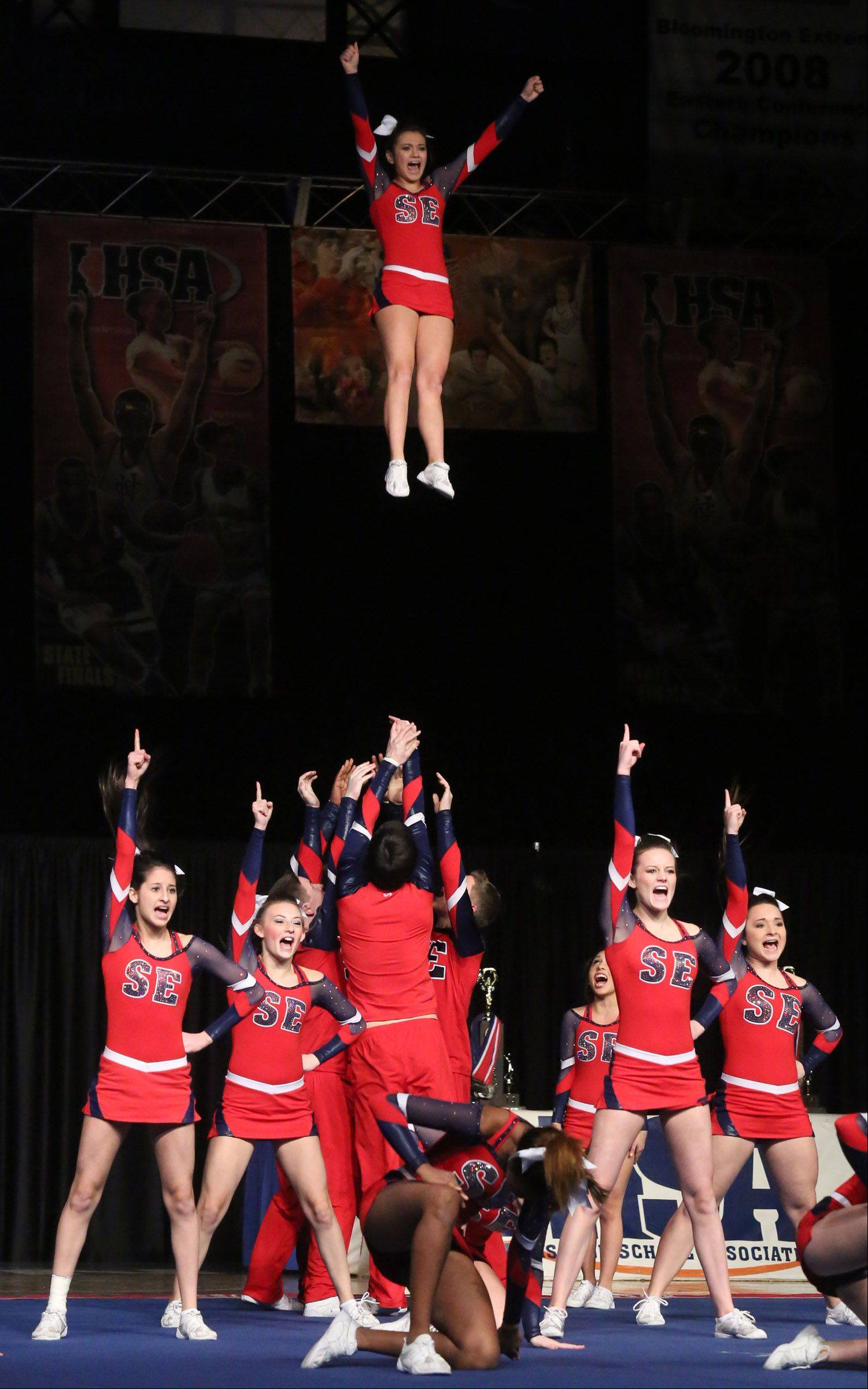 South Elgin High School's cheer team performs in the coed team category.