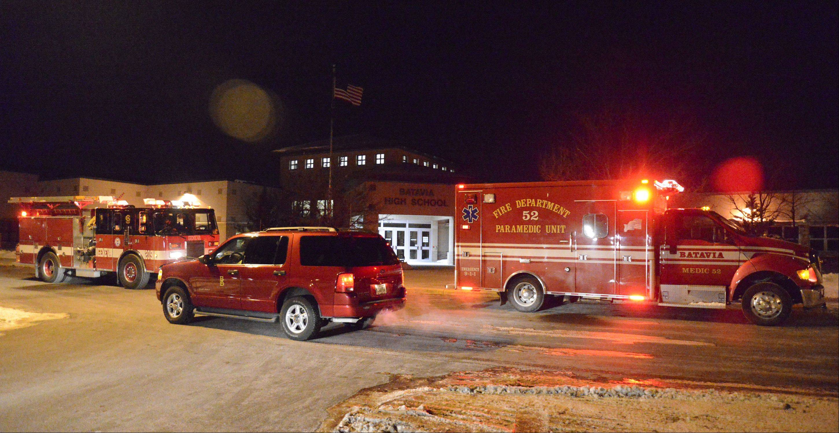 Smoke in the building set off the fire alarms inside Batavia High School on Friday night. The building was evacuated, but people were let back in within about 45 minutes.