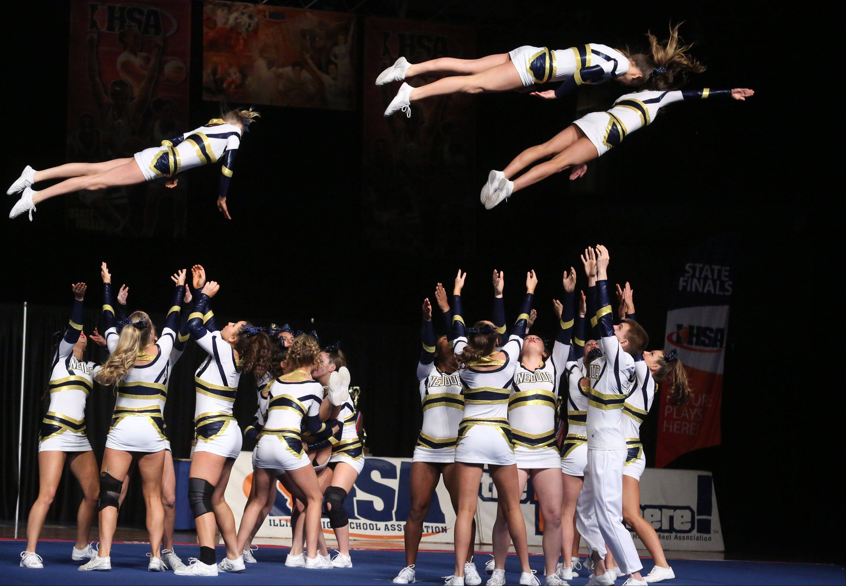 Neuqua Valley High School performs in the large team category in preliminary rounds of IHSA state cheerleading competition on Friday in Bloomington.