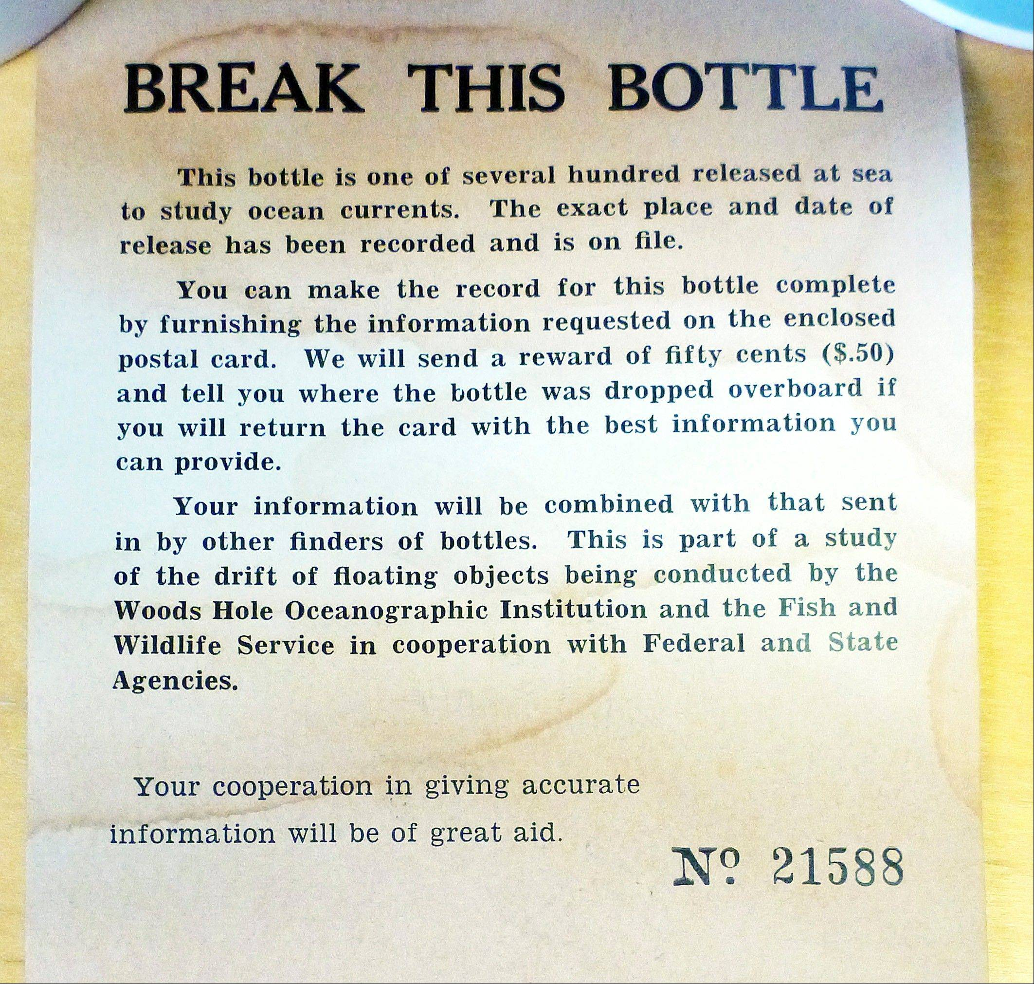 A message found inside a glass bottle recovered on Sable Island, Nova Scotia.