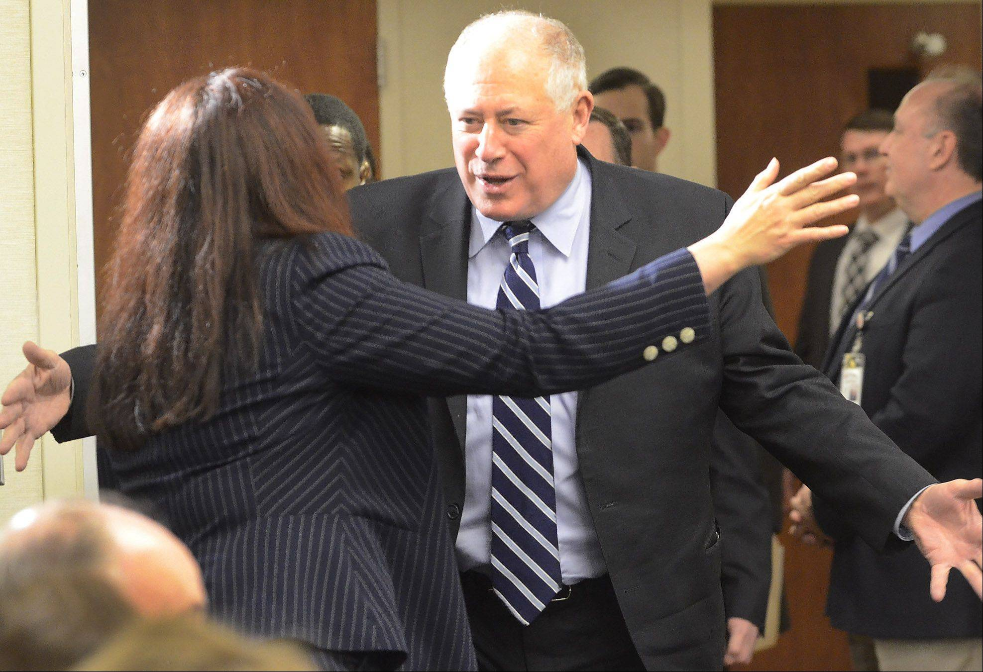 Gov. Pat Quinn is greeted by Congresswoman Tammy Duckworth before announcing Friday at Alexian Brothers Women & Children's Hospital a $68 million project to build a full tollway interchange at Barrington Road and I-90 in Hoffman Estates.