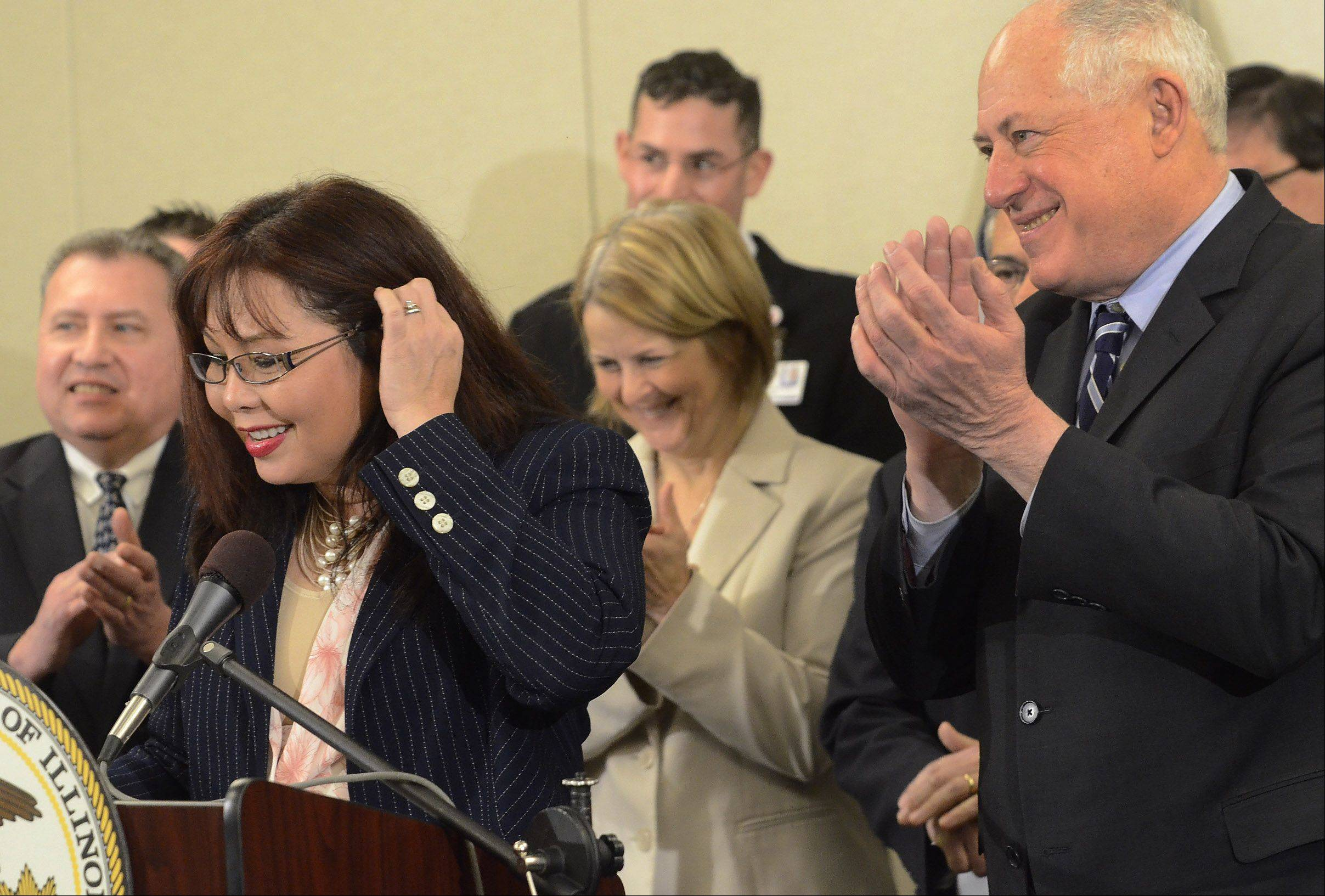Gov. Pat Quinn and Congresswoman Tammy Duckworth announced Friday at Alexian Brothers Women & Children's Hospital a $68 million project to build a long-awaited full tollway interchange at Barrington Road and I-90 in Hoffman Estates.