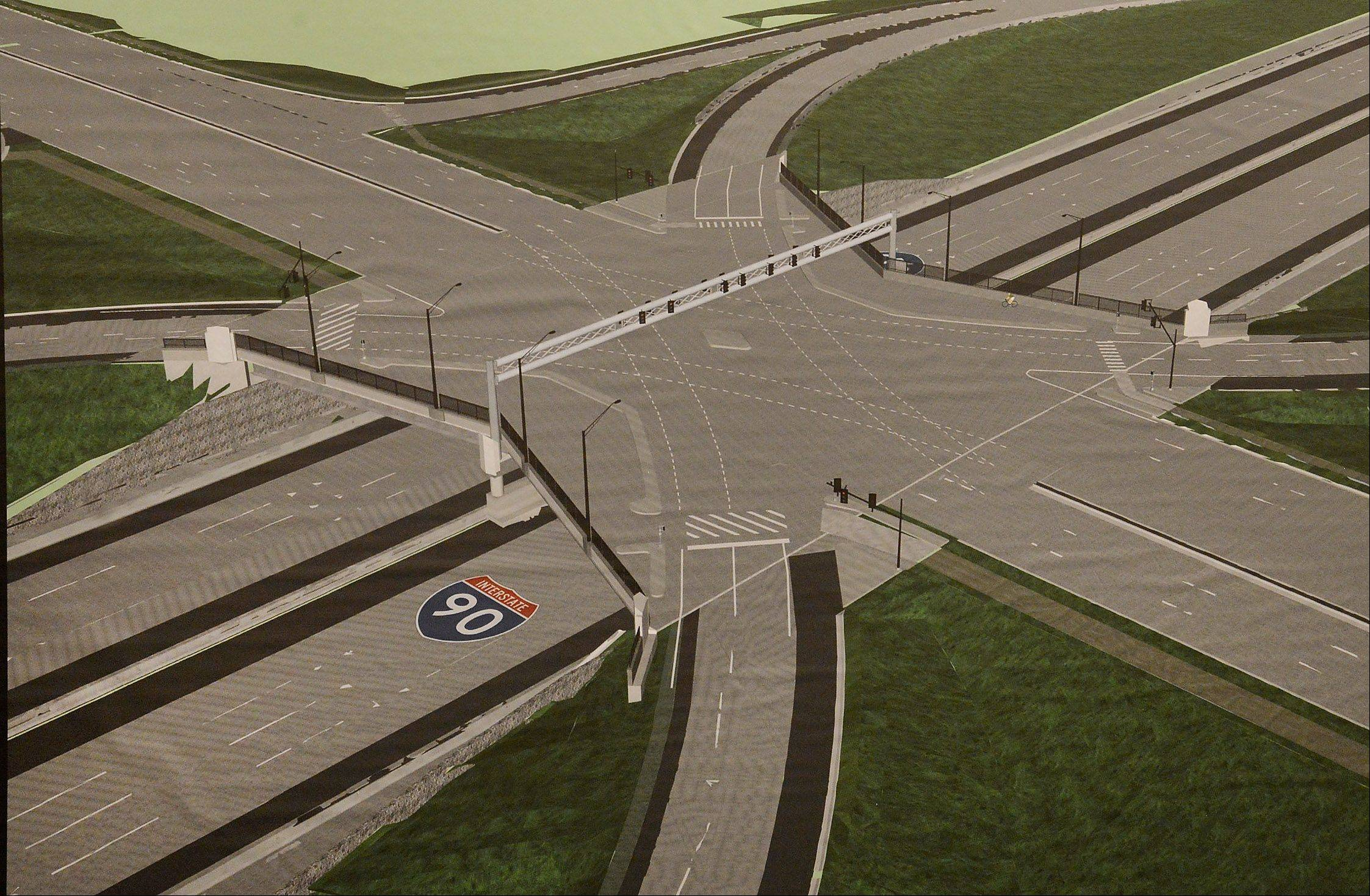 This is a sketch of the $68 million project to build a full tollway interchange at Barrington Road and the Jane Addams Memorial Tollway in Hoffman Estates.