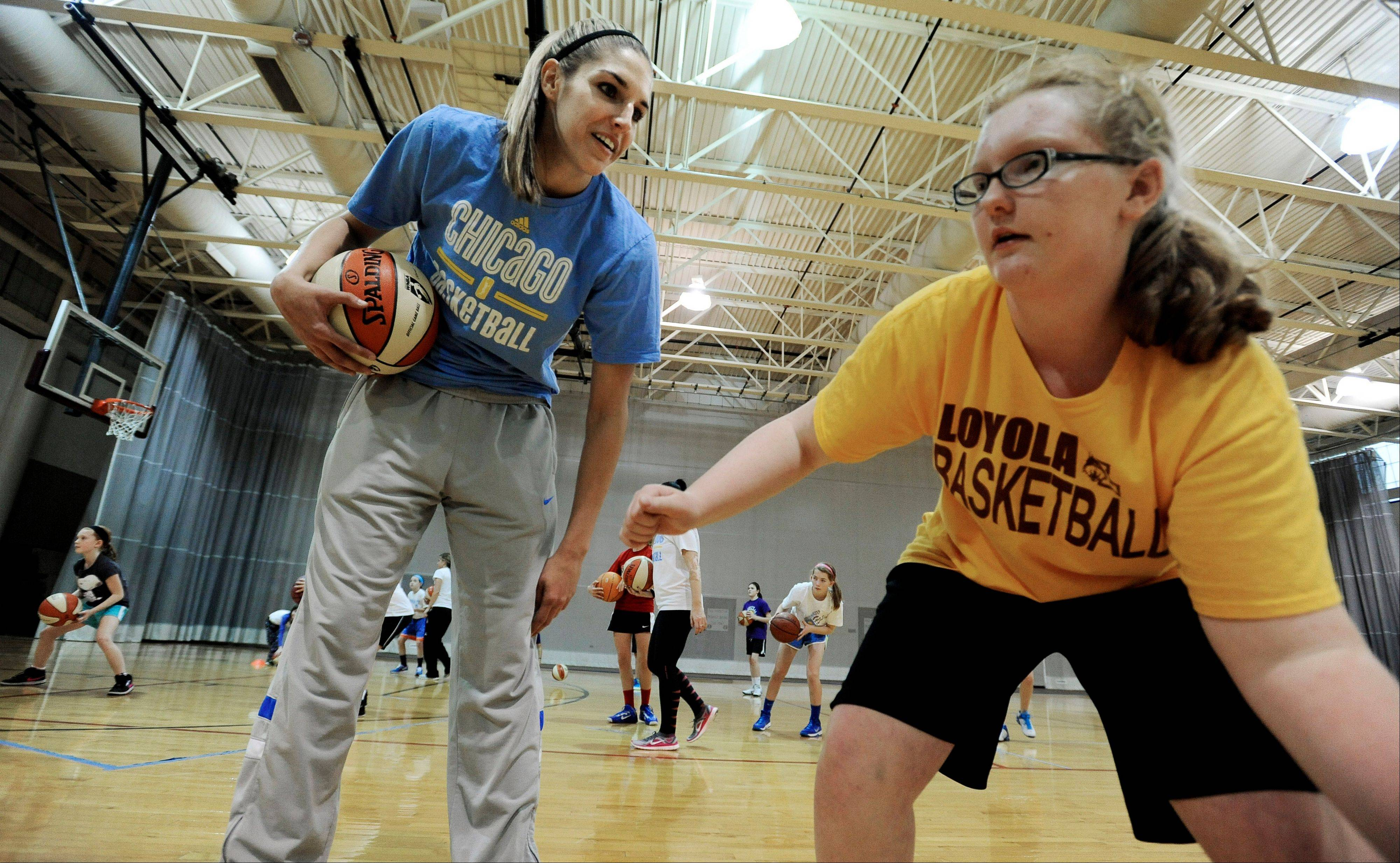 WNBA basketball player Elena Delle Donne of the Chicago Sky has spent a lot of her offseason working with kids at clinics like this one held at Loyola University Chicago. While helping grow the Sky brand, Donne also has a new role as global ambassador for Special Olympics.