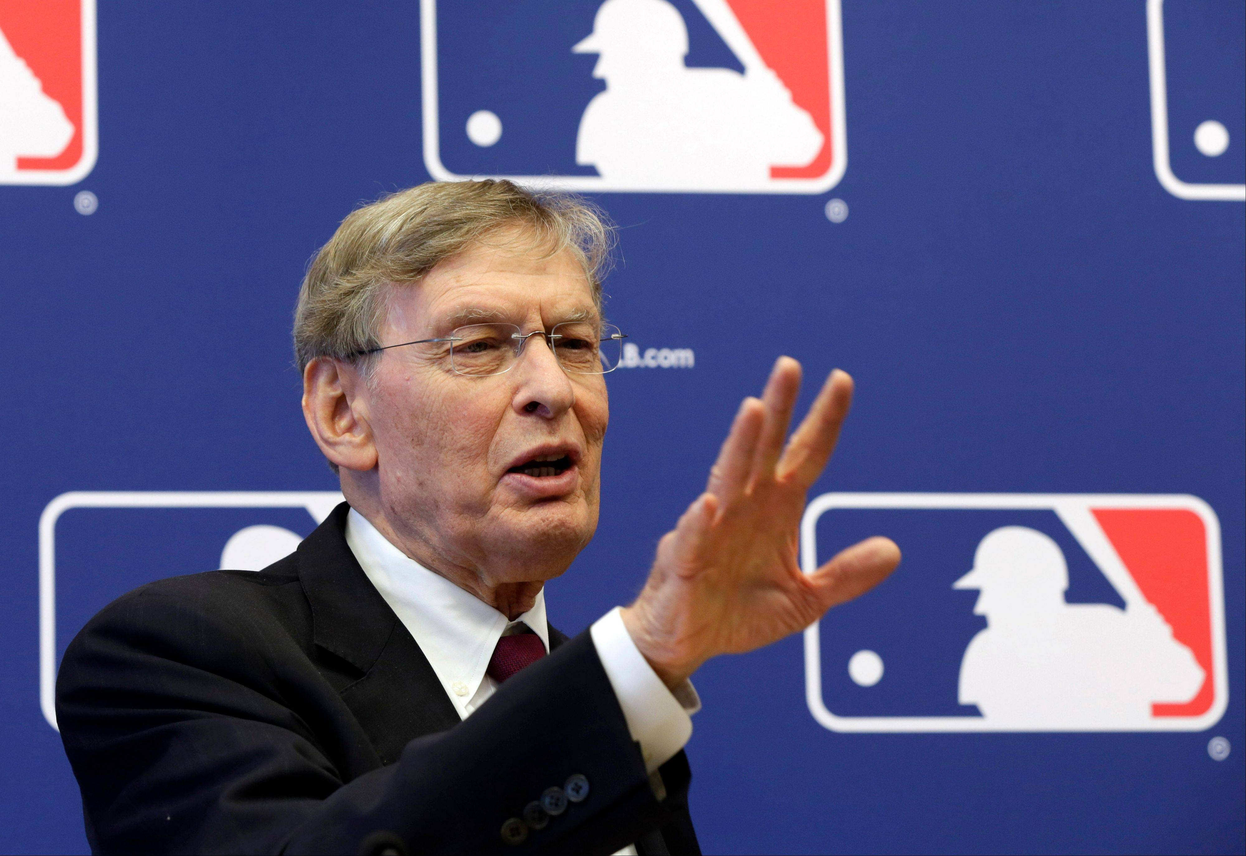 In this May 16, 2013, photo, baseball Commissioner Bud Selig answers a question during a news conference at Major League Baseball headquarters in New York. Alex Rodriguez has accepted his season-long suspension from Major League Baseball, the longest penalty in the sport's history related to performance-enhancing drugs. Rodriguez withdrew his lawsuits against Major League Baseball, Selig and the players' association to overturn his season-long suspension on Friday, Feb. 7, 2014. The notices of dismissal were filed in federal court in Manhattan.