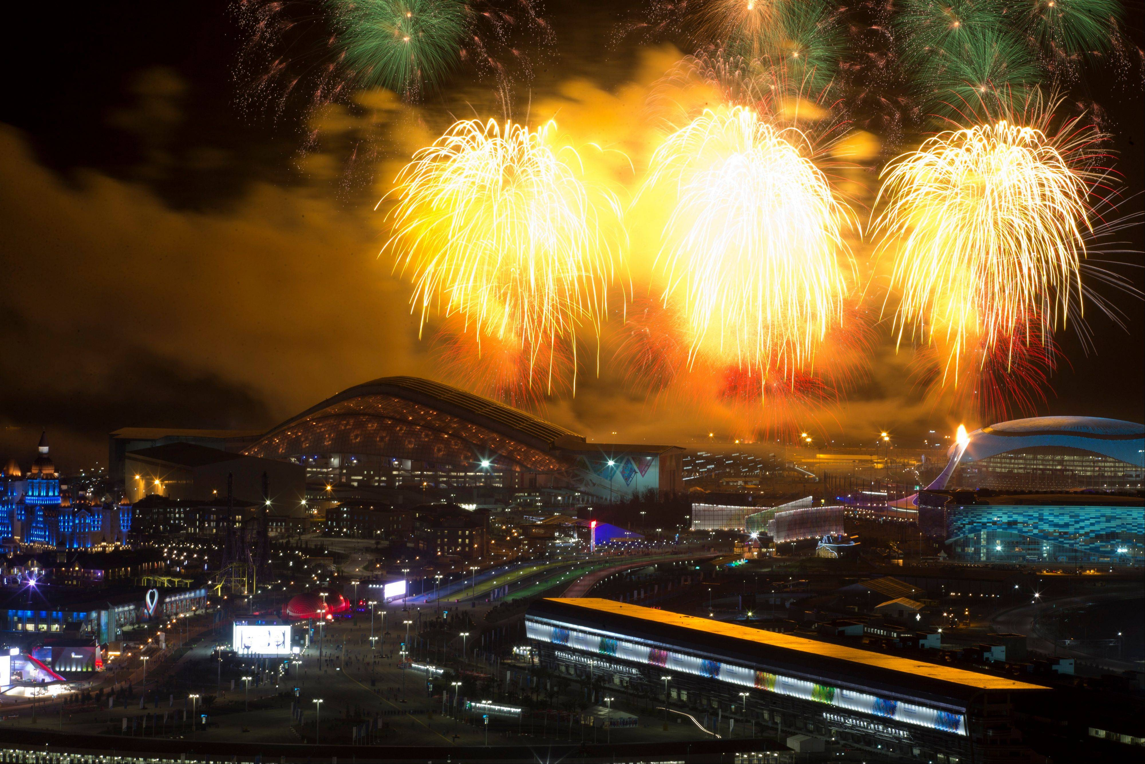 Fireworks explode over Olympic Park at the end of the opening ceremony.