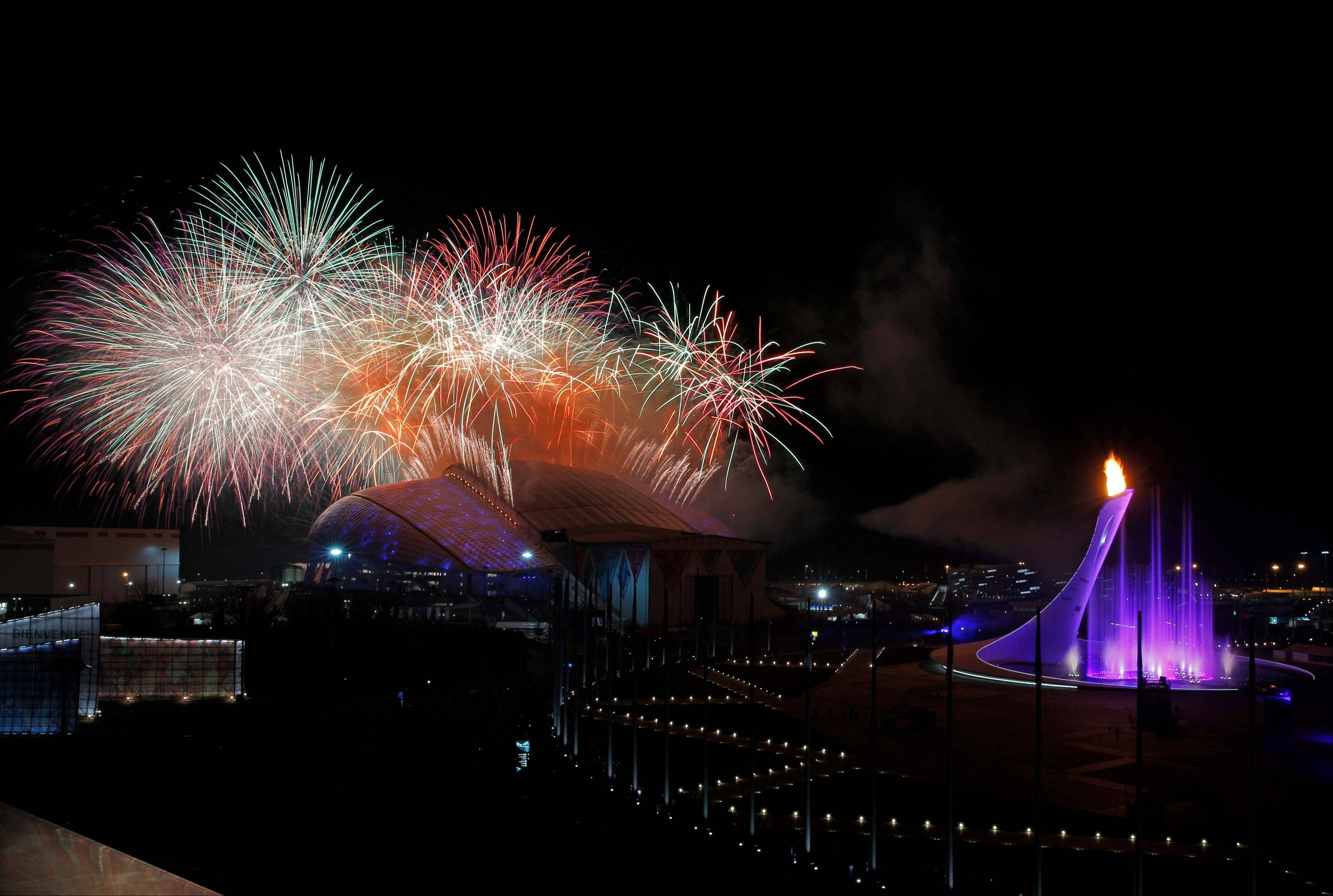 Fireworks are seen over the Olympic Park during the opening ceremony.