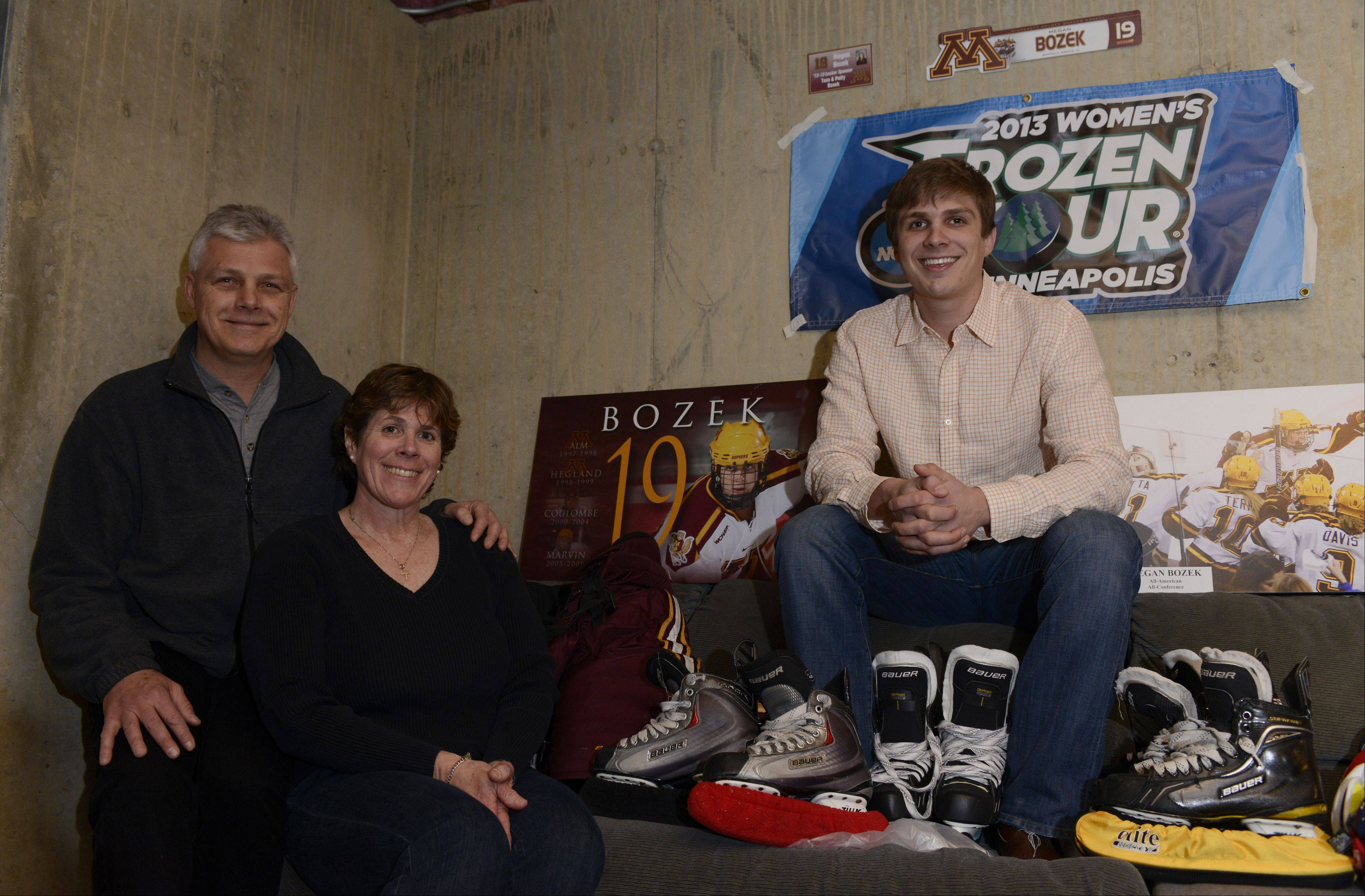 Patti and Tom Bozek of Buffalo Grove, shown with their son Stephen, are the parents of U.S. Olympic hockey player Megan Bozek.