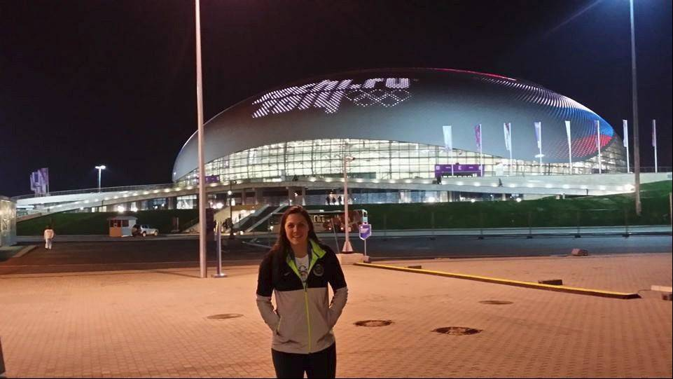 U.S. women's hockey team member Megan Bozek, a Buffalo Grove native, will open play on Saturday against Finland. In the background is the Bolshoy Ice Dome, the main ice hockey venue.