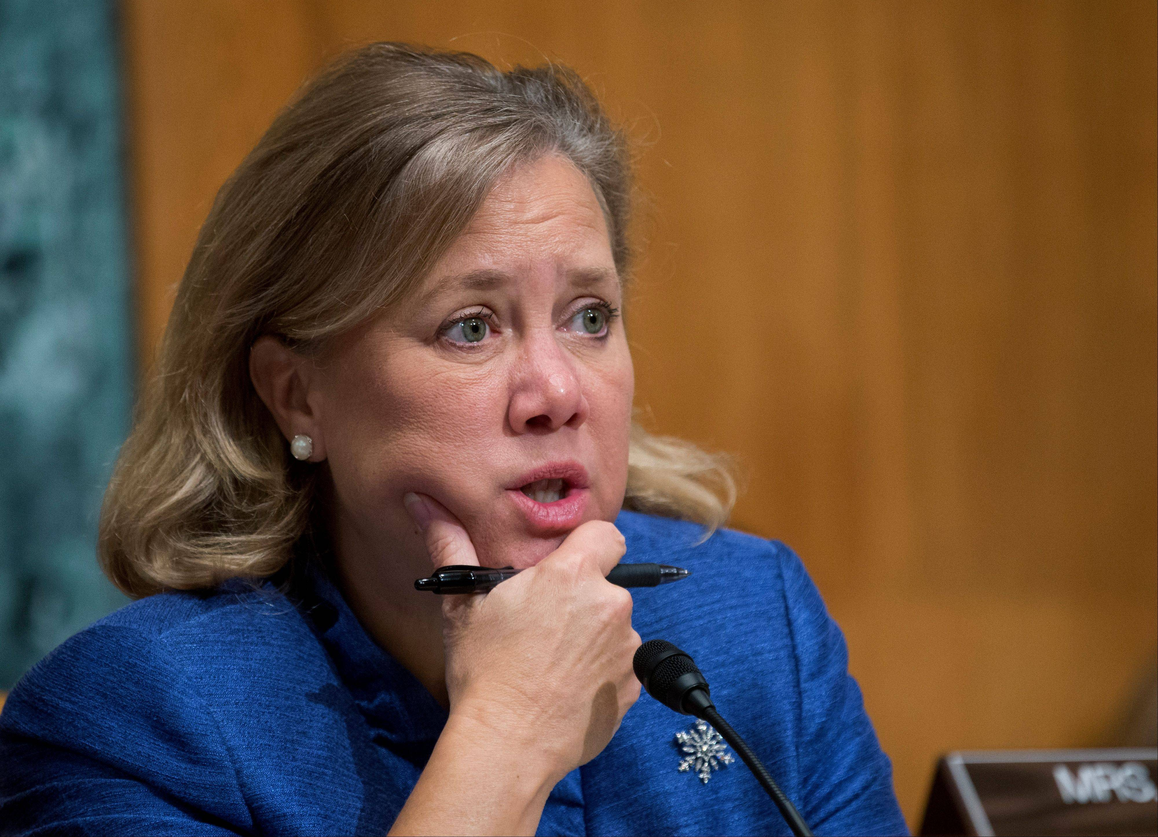 Sen. Mary Landrieu, a Louisiana Democrat, speaks during a hearing on Capitol Hill in Washington.