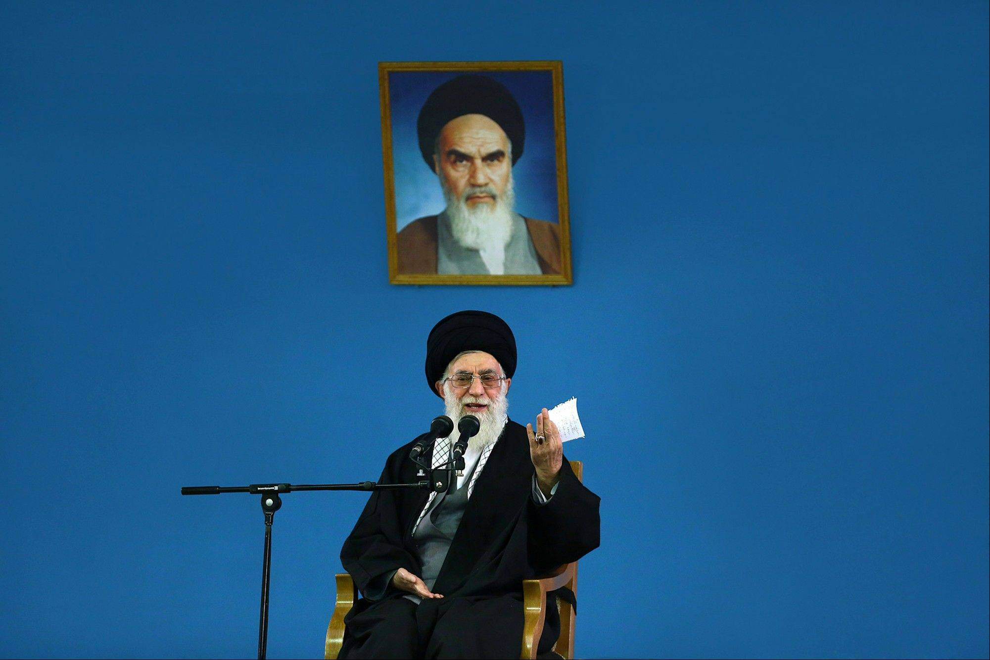 Ayatollah Ali Khamenei makes a speech to a group of air force members Saturday in Tehran, Iran.