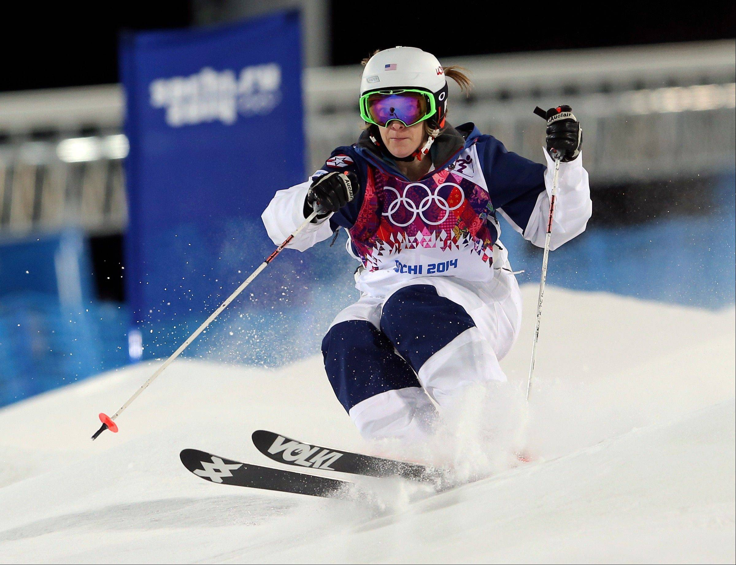 United States' Hannah Kearney competes in the women's moguls final 1 at the Rosa Khutor Extreme Park, at the 2014 Winter Olympics, Saturday, Feb. 8, 2014, in Krasnaya Polyana, Russia.