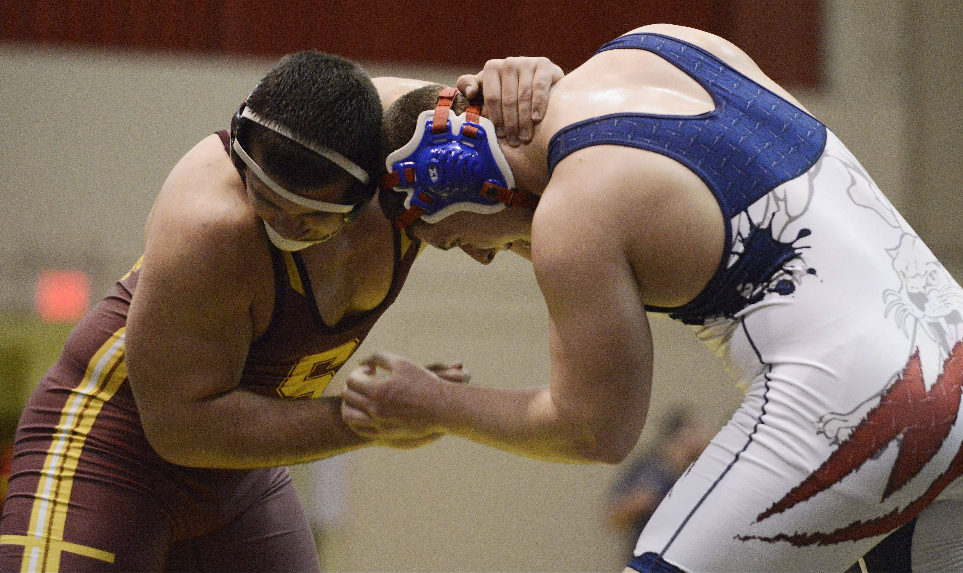 Conant's Tyler LaBarbera, right, wrestles toward a win against Schaumburg's Matt Zolper in the 285-pound championship match during the Schaumburg regional Saturday.