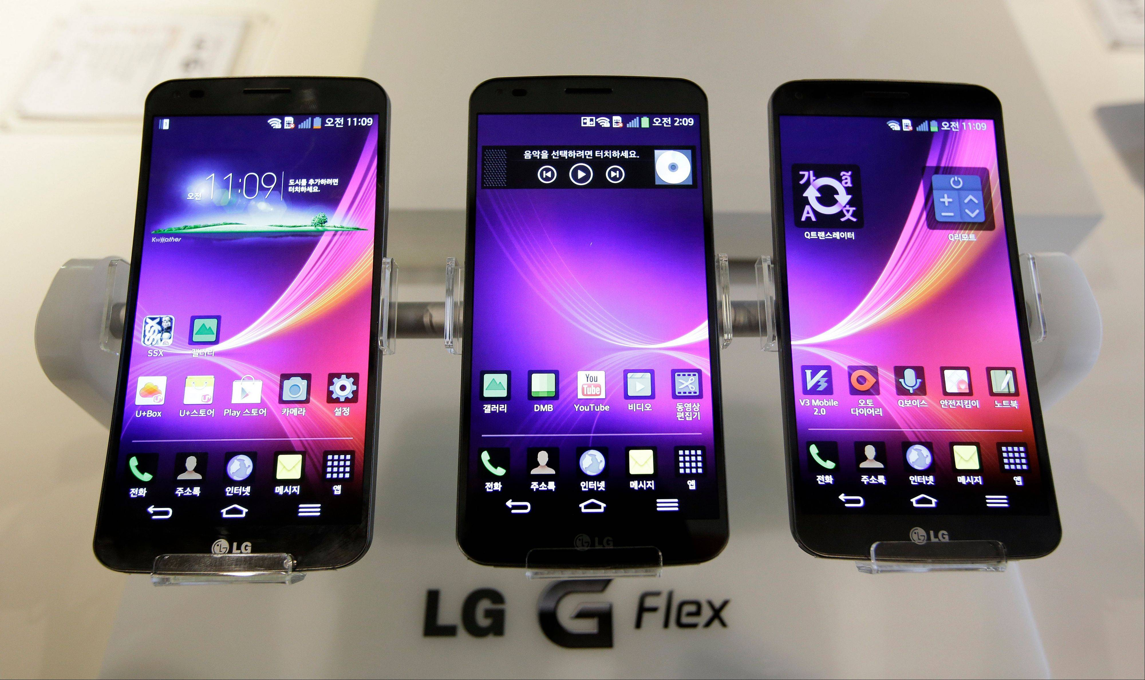 LG Electronics's smartphone G Flex is displayed during a media event at its head office in Seoul, South Korea.