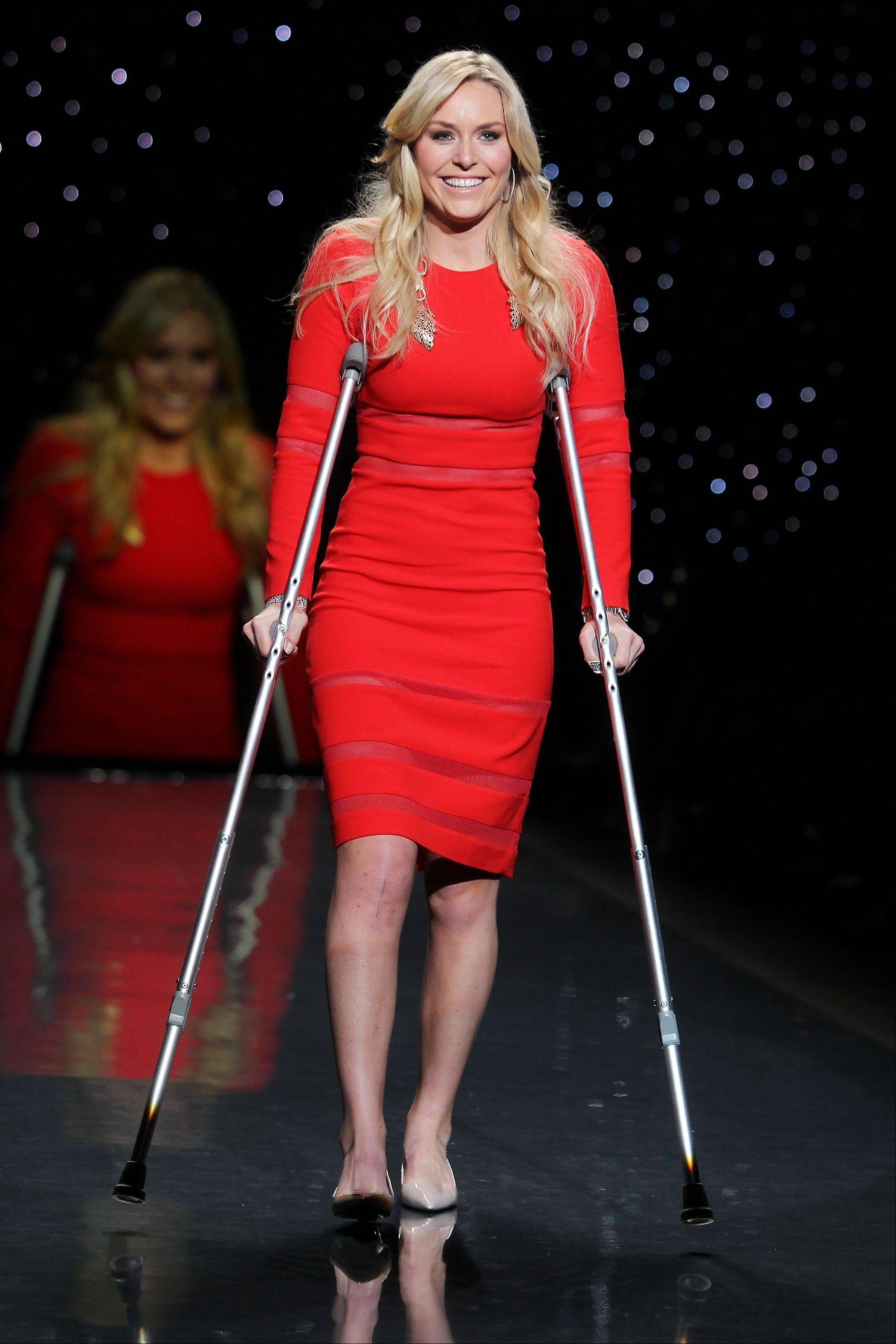 Lindsey Vonn wears Cynthia Rowley as she participates in the Go Red For Women-The Heart Truth Red Dress Collection show during Fashion Week in New York.