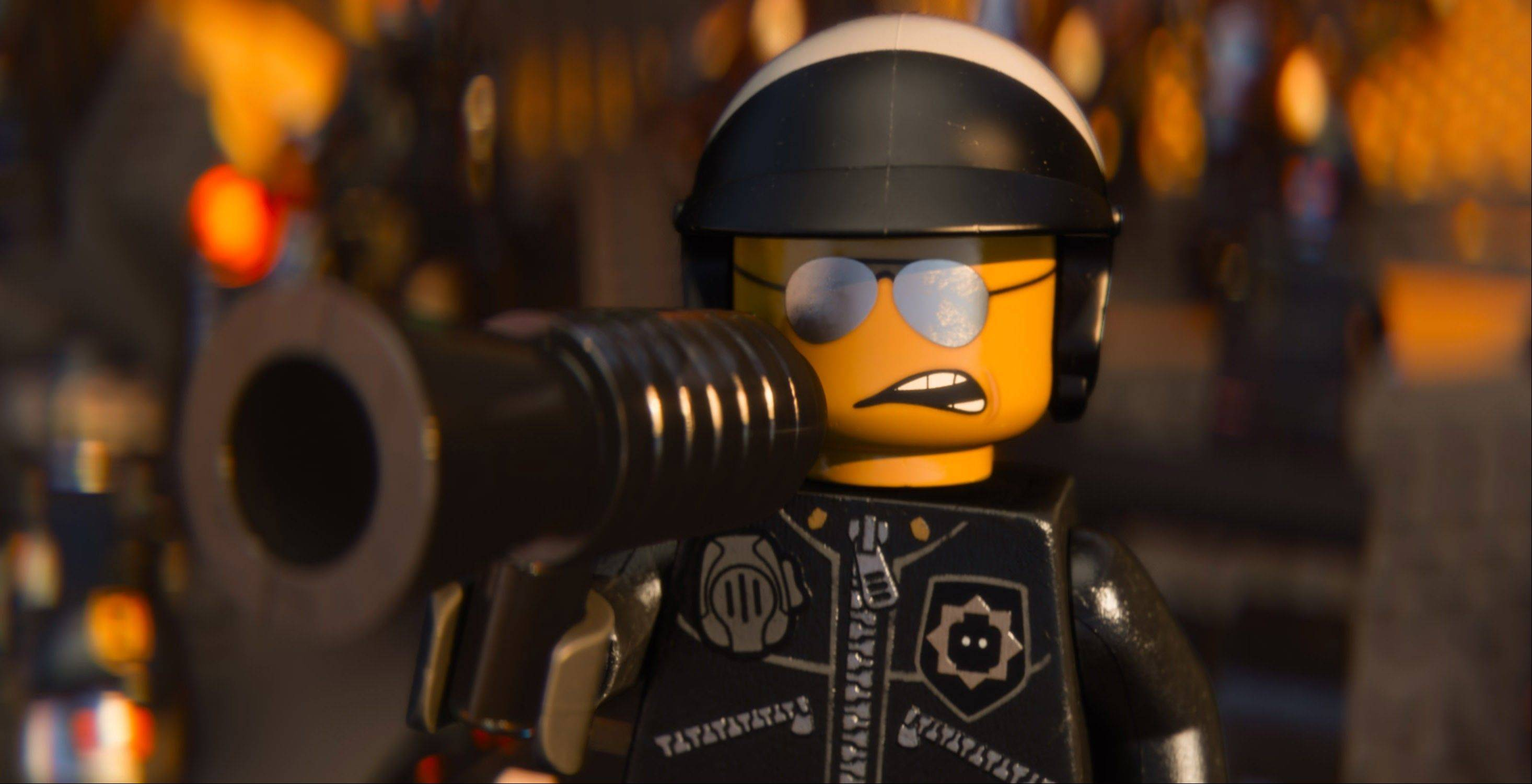 "Bad Cop/Good Cop, voiced by Liam Neeson, keeps the peace in ""The Lego Movie."""