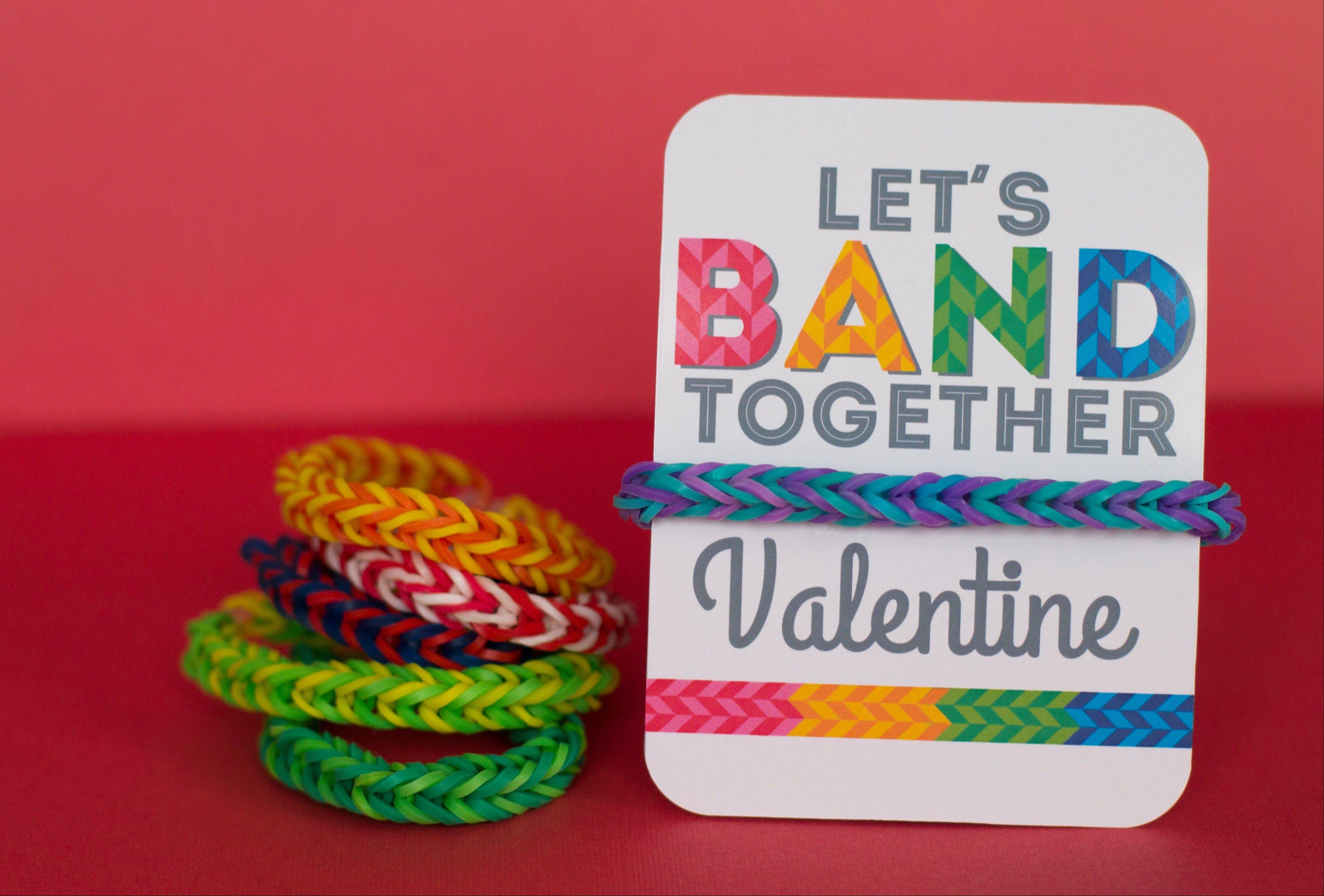 Turn trendy rubber band bracelets into Valentines by wrapping them around cards adorned with a silly pun.