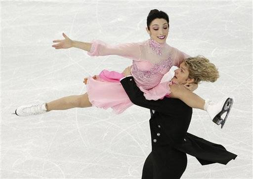 Meryl Davis and Charlie White of the United States compete in the team ice dance short dance figure skating competition at the Iceberg Skating Palace during the 2014 Winter Olympics, Saturday, Feb. 8, 2014, in Sochi, Russia.