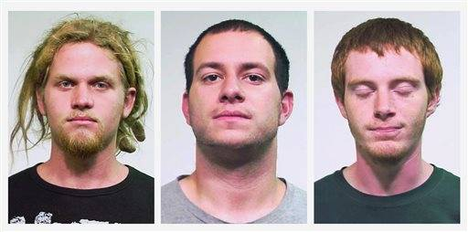 This combo made of undated file photos provided by the Chicago Police Department shows from left, Brent Vincent Betterly, of Oakland Park, Fla., Jared Chase, of Keene, N.H., and Brian Church, of Ft. Lauderdale, Fla. On Friday, Feb. 7, 2014, a jury in Chicago acquitted the three NATO summit protesters of breaking Illinois' rarely tested state terrorism law, but did convict them on lesser arson counts.