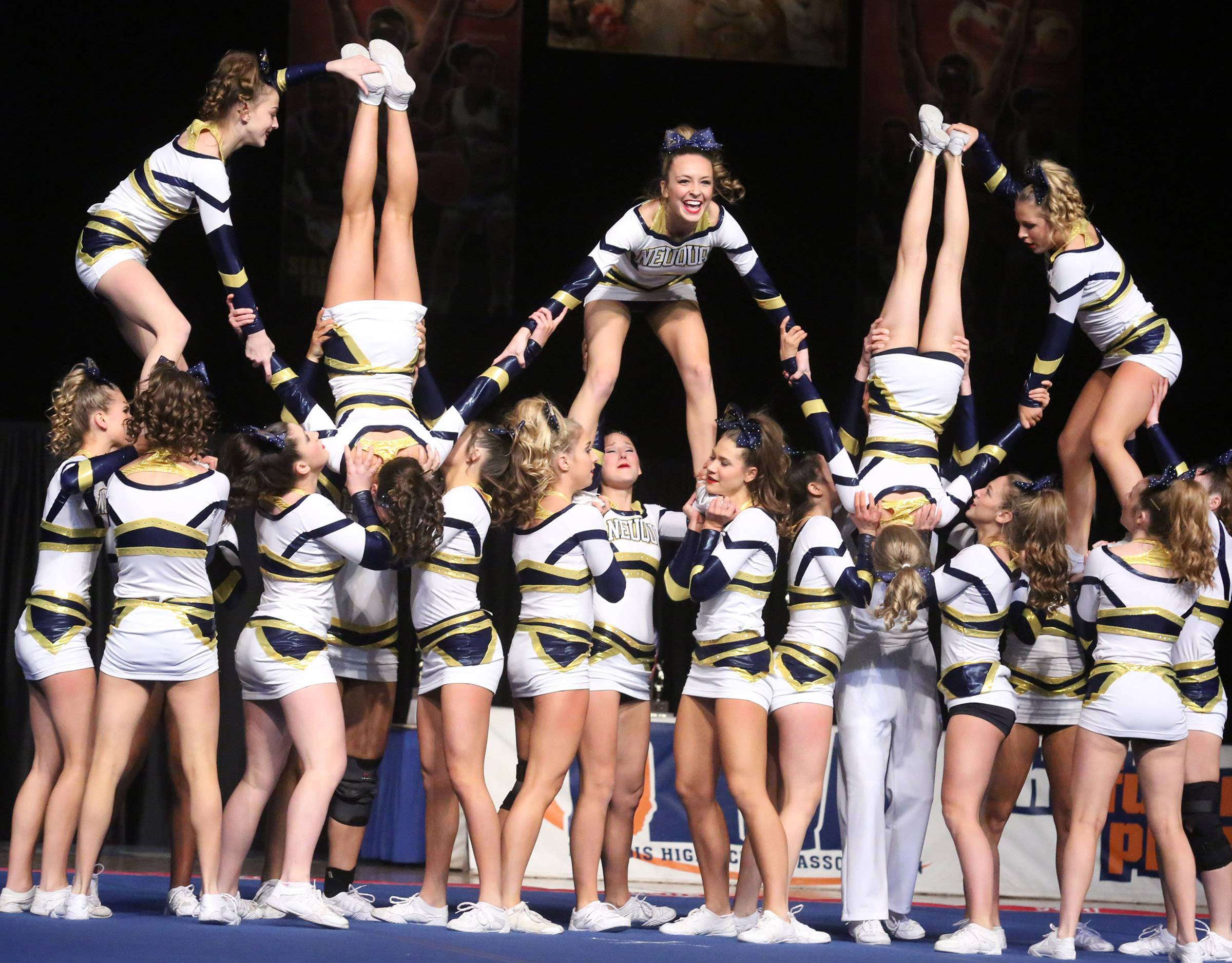 Neuqua Valley High School's cheer team performs in the large team category at the IHSA state finals on Saturday in Bloomington.