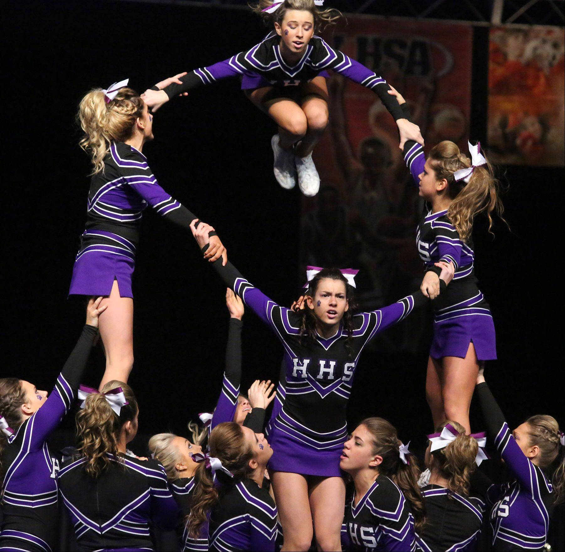 Hampshire High School's cheerleading squad performs in the state finals Saturday in Bloomington.