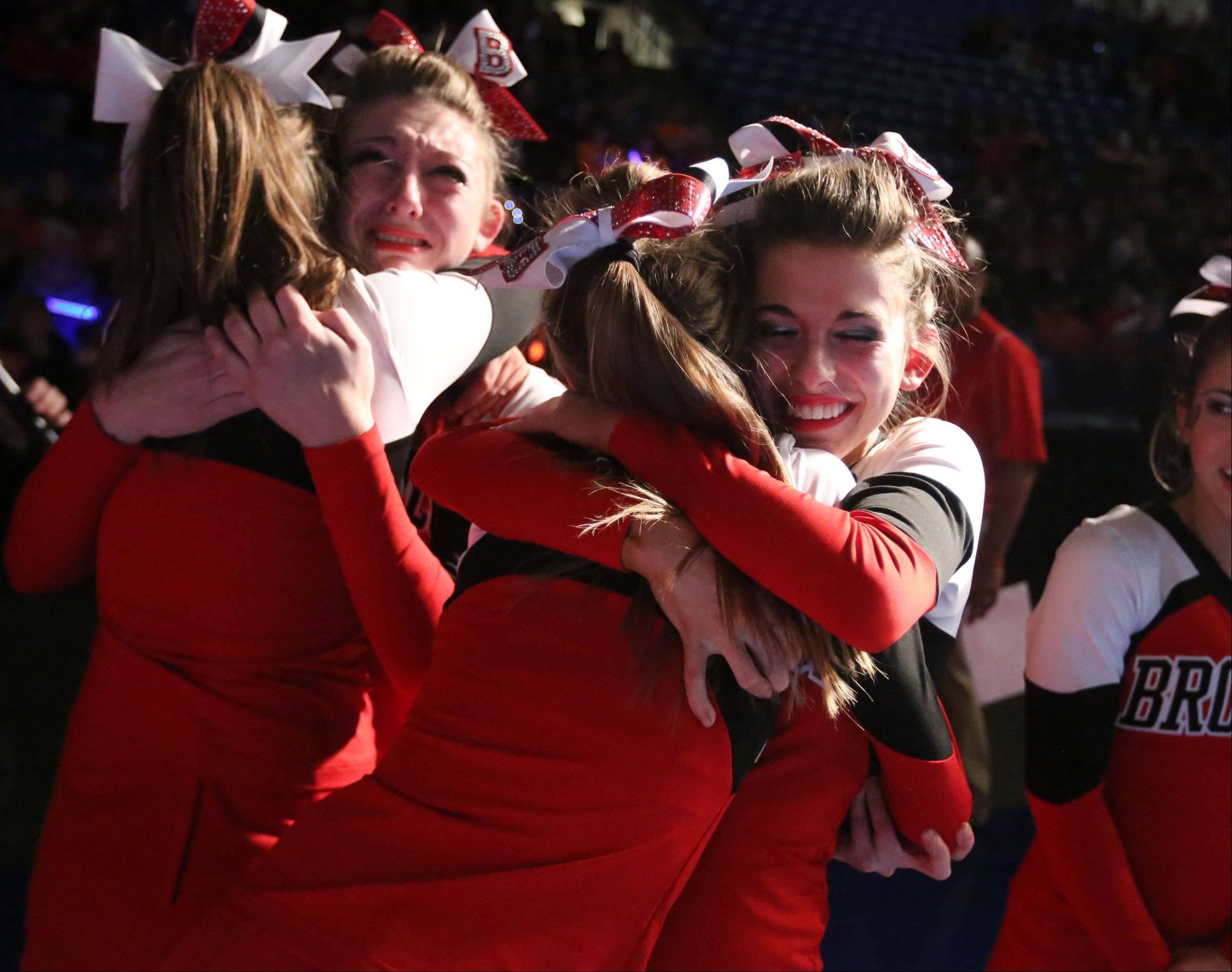Barrington cheer team reacts to the announcement that they took third place in the coed team category at the IHSA state finals on Saturday in Bloomington.