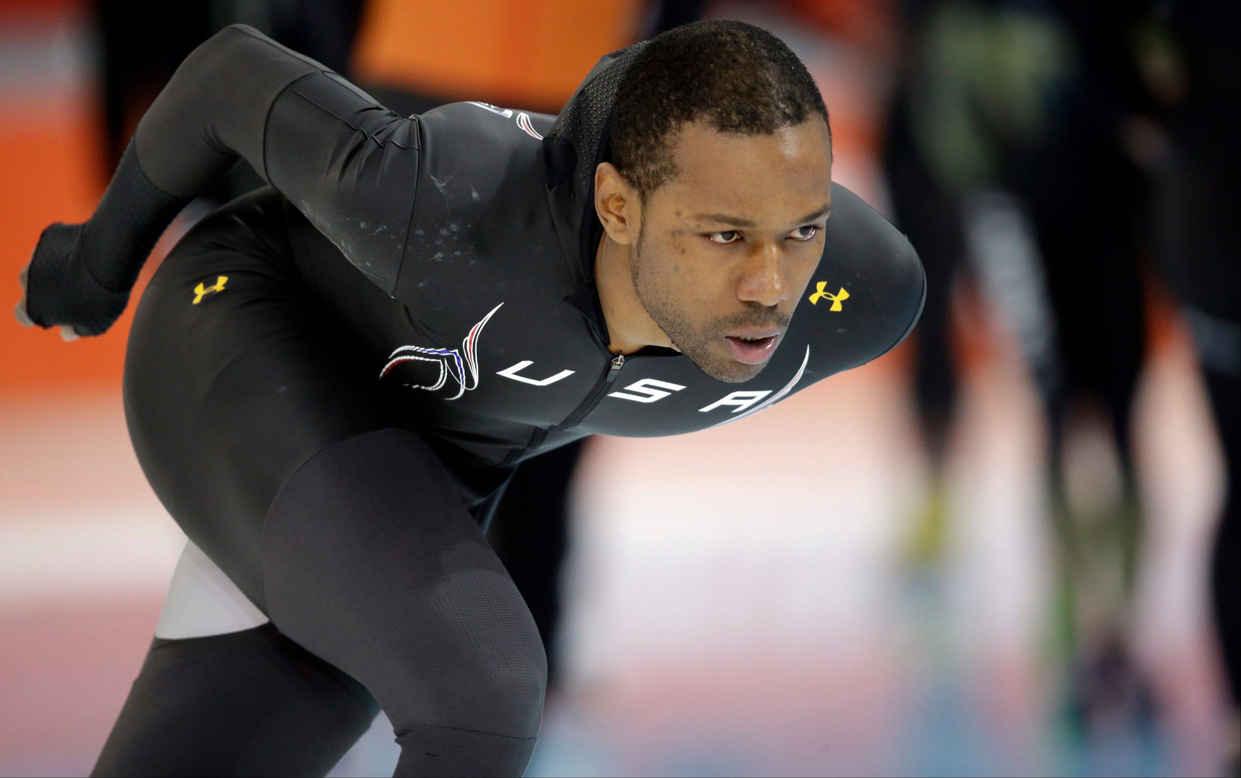 Chicago speedskater Shani Davis of the U.S. trains at the Adler Arena Skating Center during the 2014 Winter Olympics in Sochi, Russia. He is favored to earn a medal in the 1,000 and 1,500 meter events.