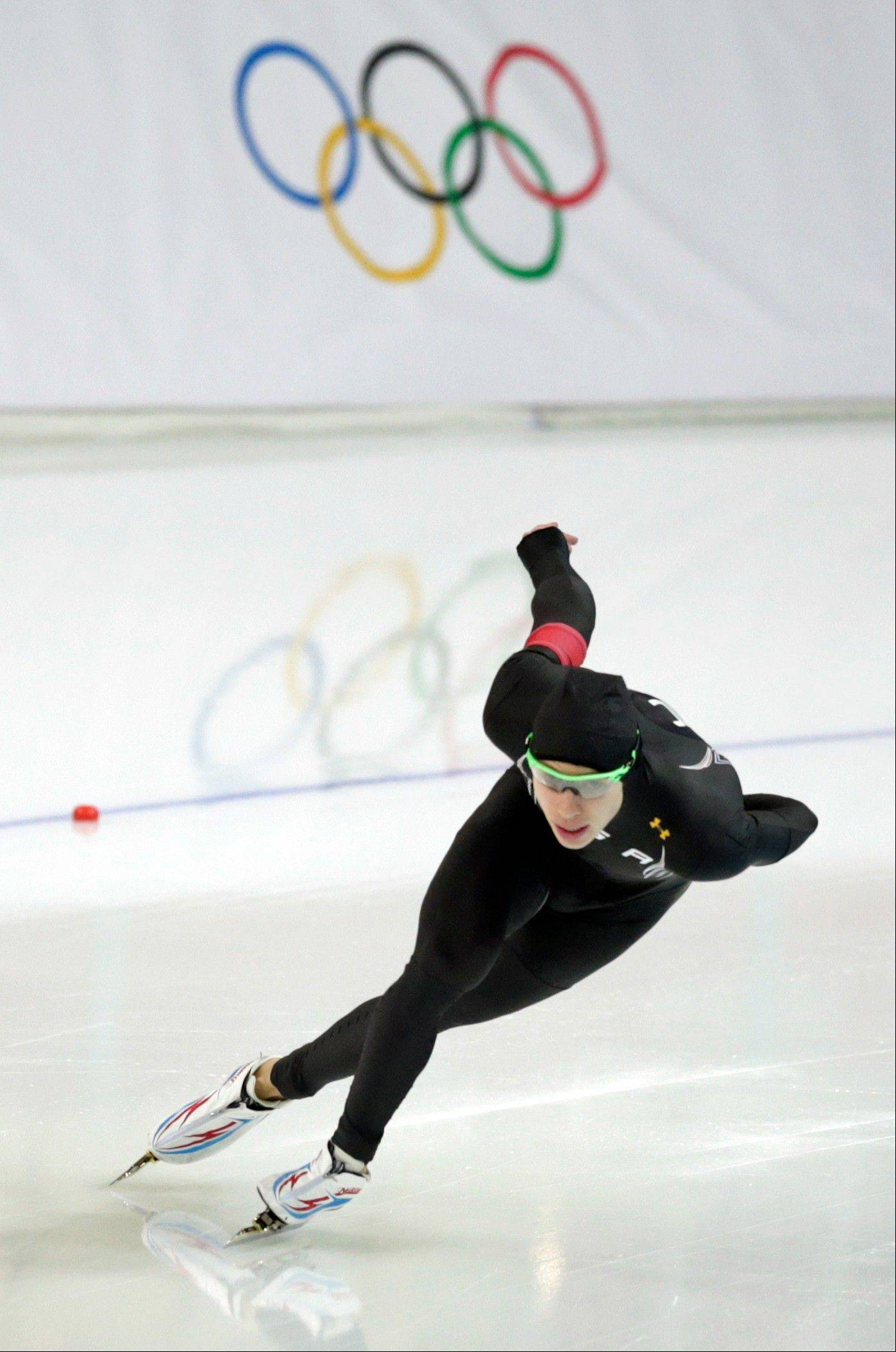 Brian Hansen of the United States team skates during a test race at the Adler Arena Skating Center during the 2014 Winter Olympics in Sochi, Russia. The Glenbrook South grad could medal in the 1,000 meter, 1,500 meter and Team Pursuit events.