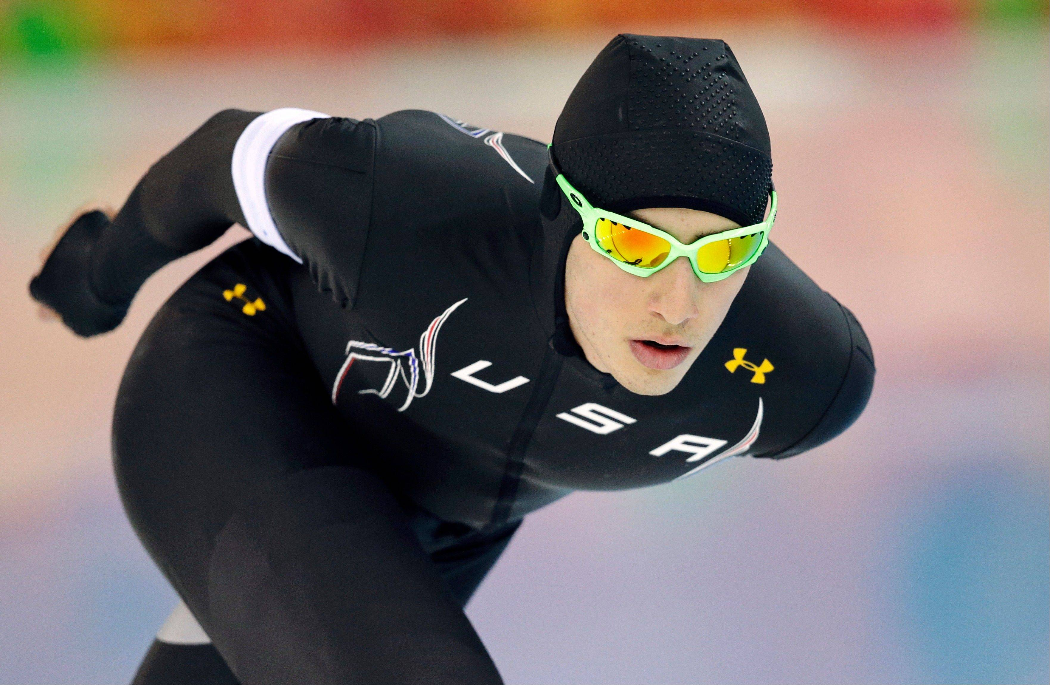 Emery Lehman, 17, of Oak Park placed 16th in his Olympic debut, making him the top American finisher in the men's 5,000-meter speedskating race at the Adler Arena Skating Center during the 2014 Winter Olympics, Saturday, Feb. 8, 2014, in Sochi, Russia.