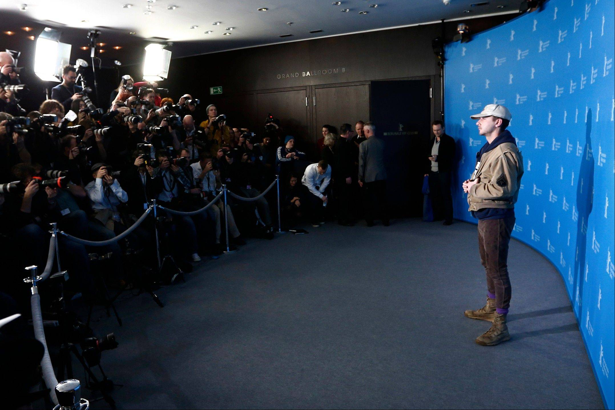 "Actor Shia LaBeouf poses for photographers at the photo call for the film ""Nymphomaniac"" during the 64th Berlinale International Film Festival on Sunday in Berlin."