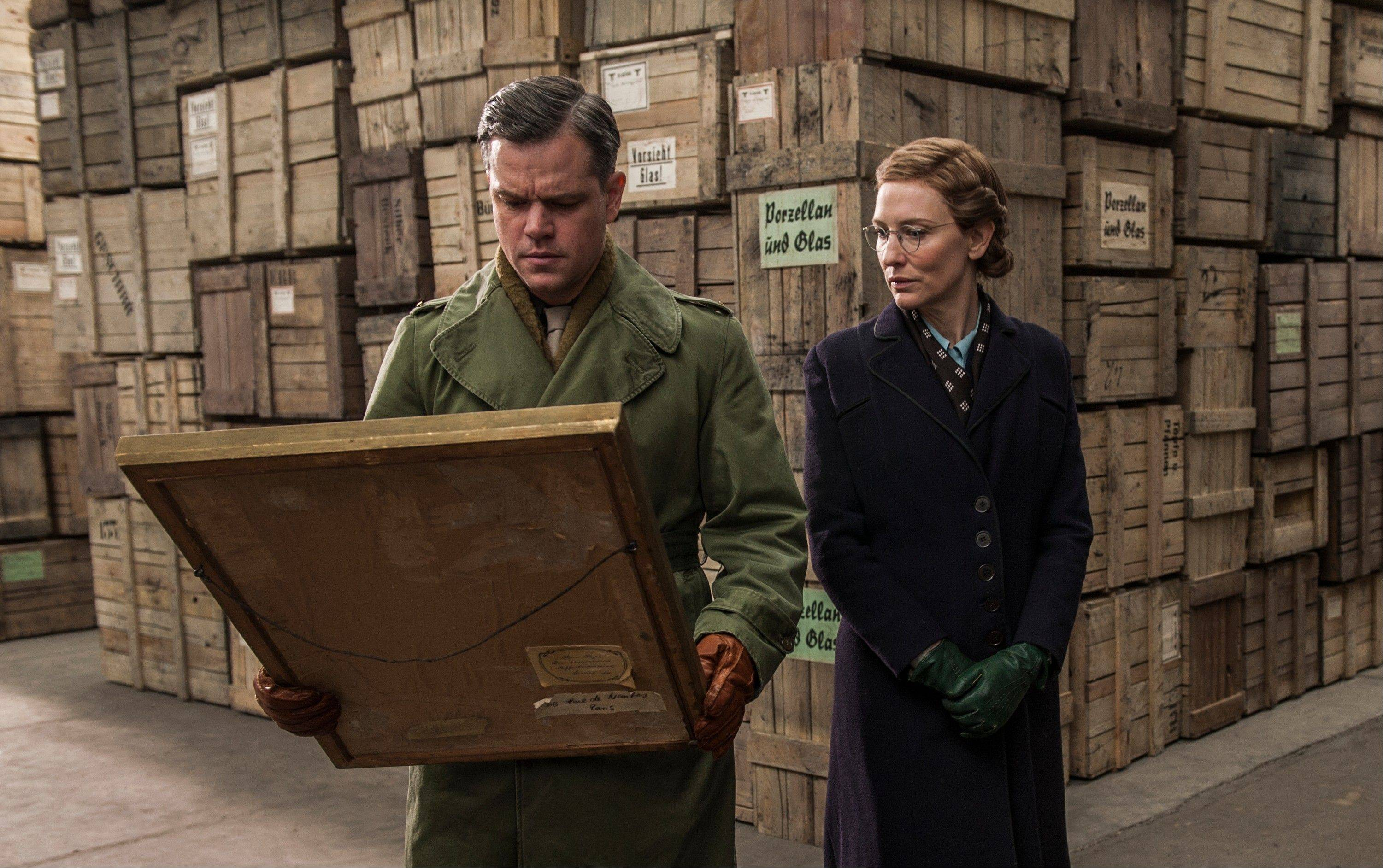 "James Rorimer (Matt Damon) works to gain Rose Valland's (Cate Blanchett) trust in ""The Monuments Men."""