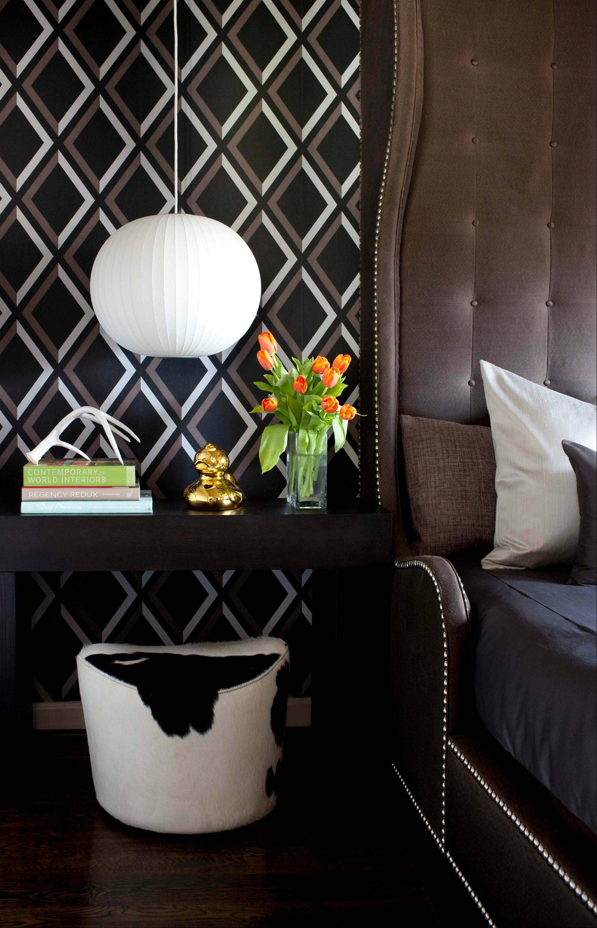 Designer Brian Patrick Flynn often installs pendant lights beside beds, directly above chests or nightstands rather than using table lamps.