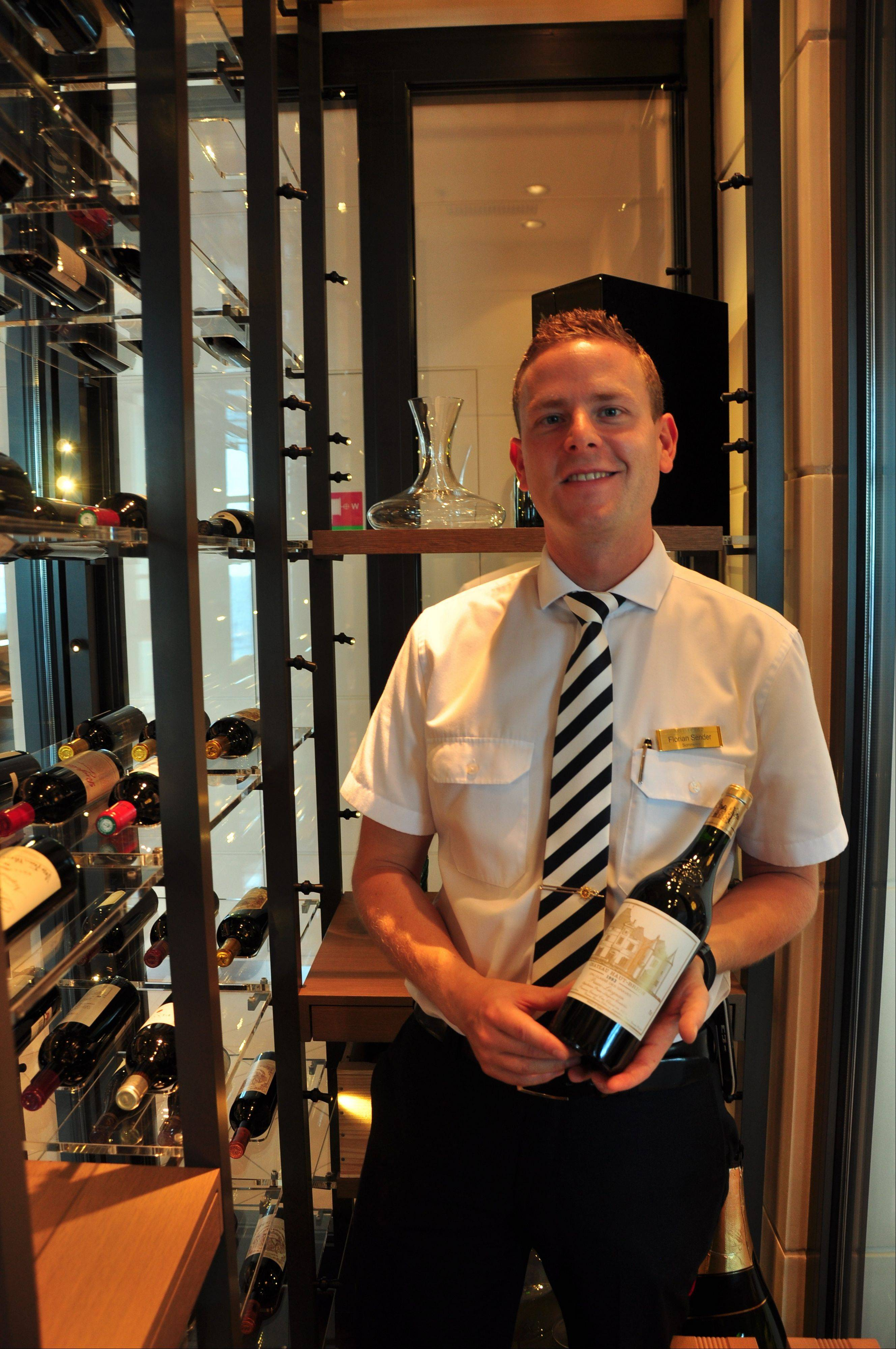 Sommelier Florian Sender oversees a team of wine stewards in the main dining areas and four specialty restaurants.
