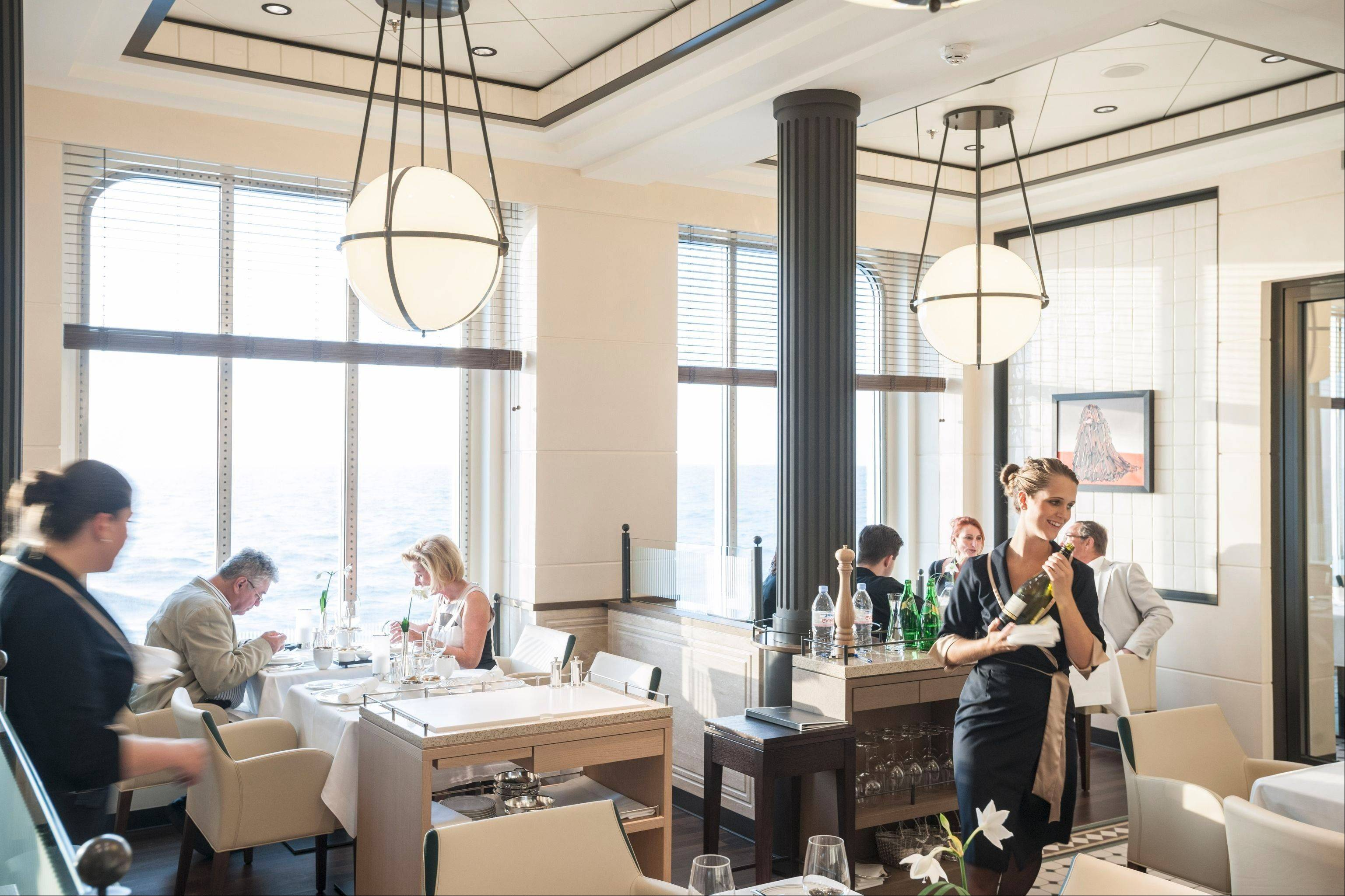 The Europa 2's French restaurant, Tarragon, has the look and feel of a Paris brasserie.