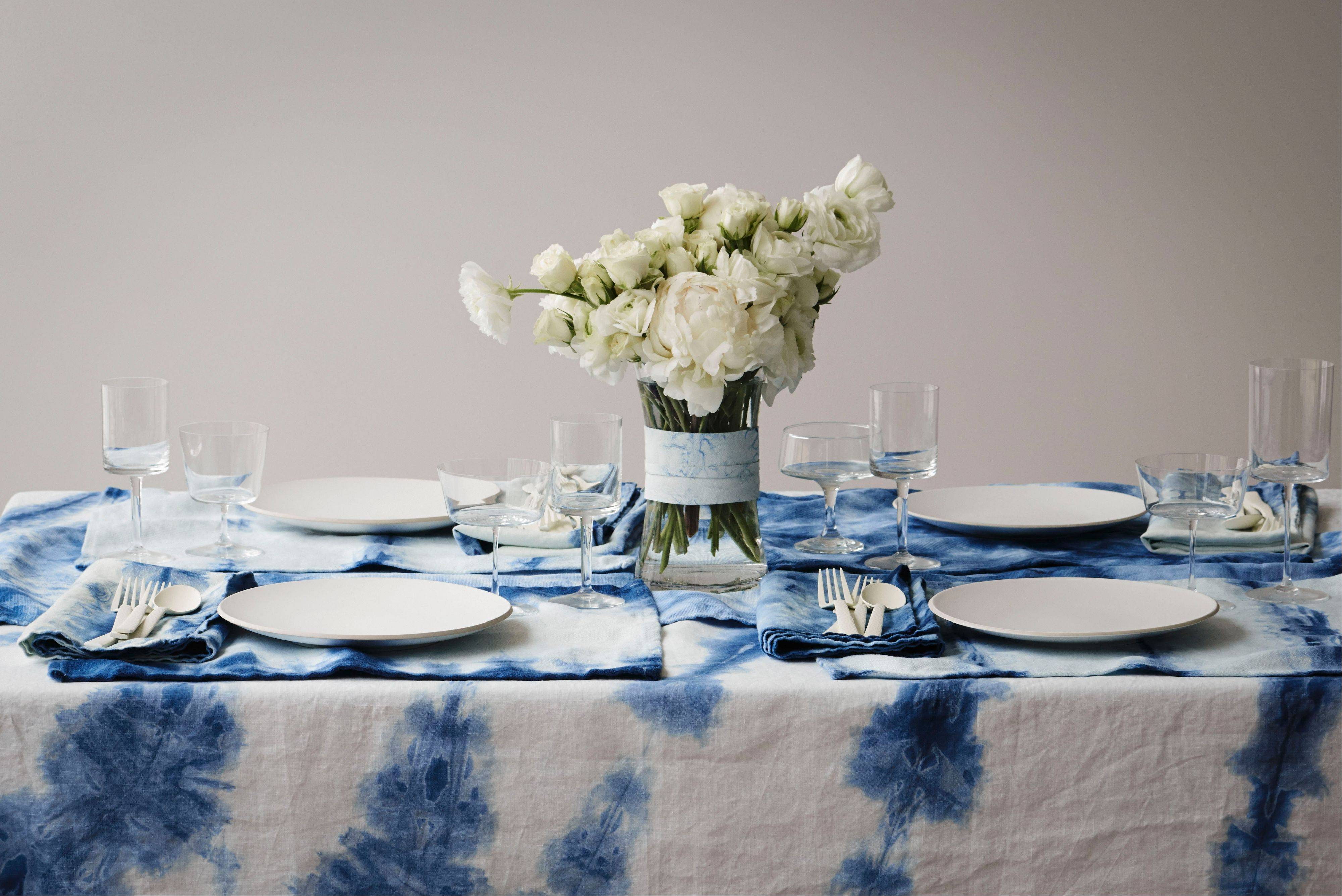 An OriShibori tablecloth, runner, place mats and napkins make for a striking table setting. From fabrics to iPhone cases and wallpaper, the ancient Japanese resist-dyeing technique of shibori has gone mainstream.