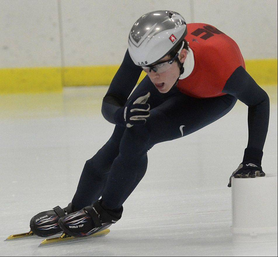 Gennaro Gammariello, 16, practices his turns with the Northbrook Speed Skating Club this week. The club has 19 Olympians among its alumni.