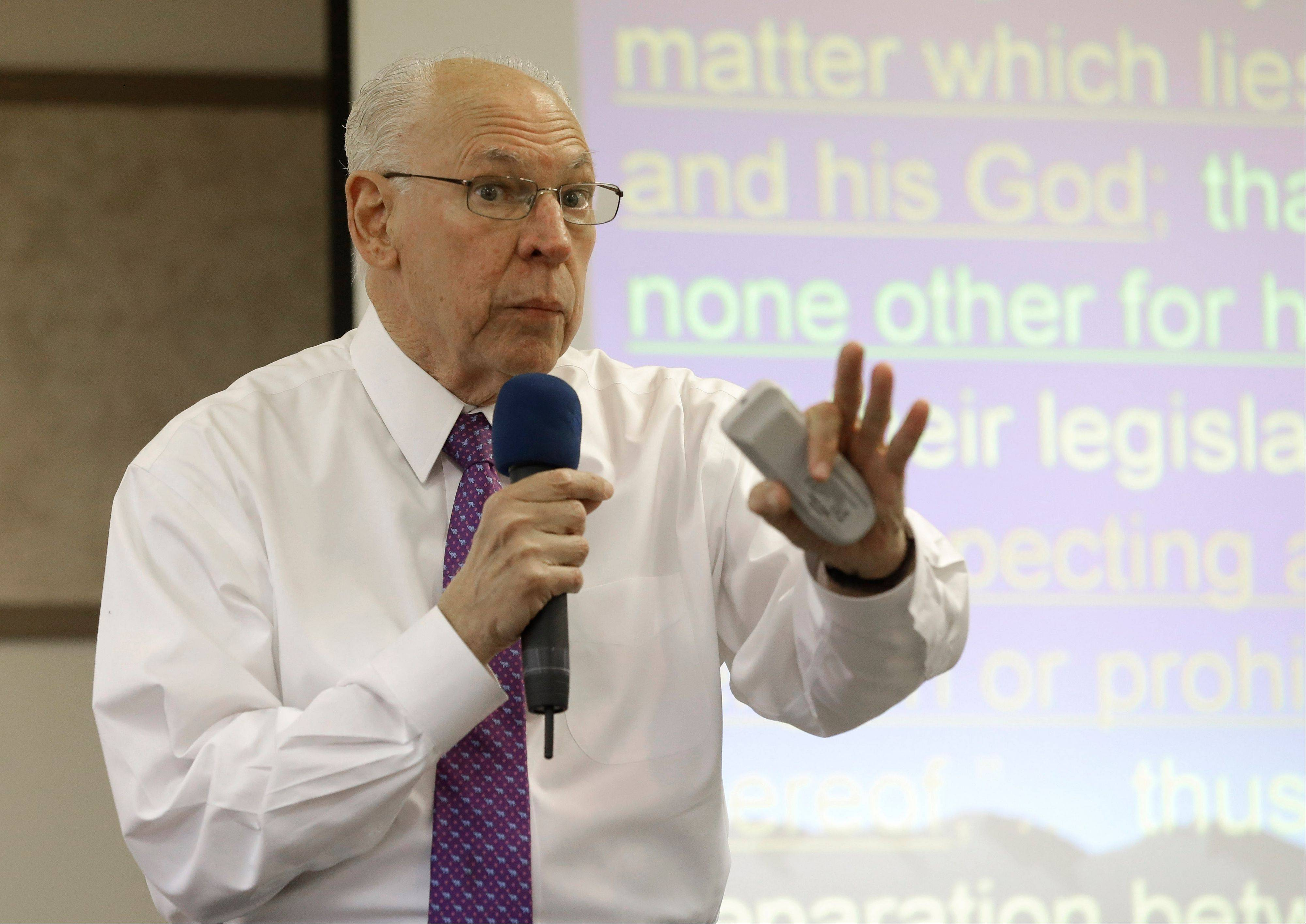 "Rafael Cruz speaks during a Tea Party gathering Friday, Jan. 10, 2014, in Madisonville, Texas. The father of U.S. Senator Ted Cruz has turned some heads by calling for sending Barack Obama ""back to Kenya"" and dismissing the president as an ""outright Marxist"" out to ""destroy all concept of God."""