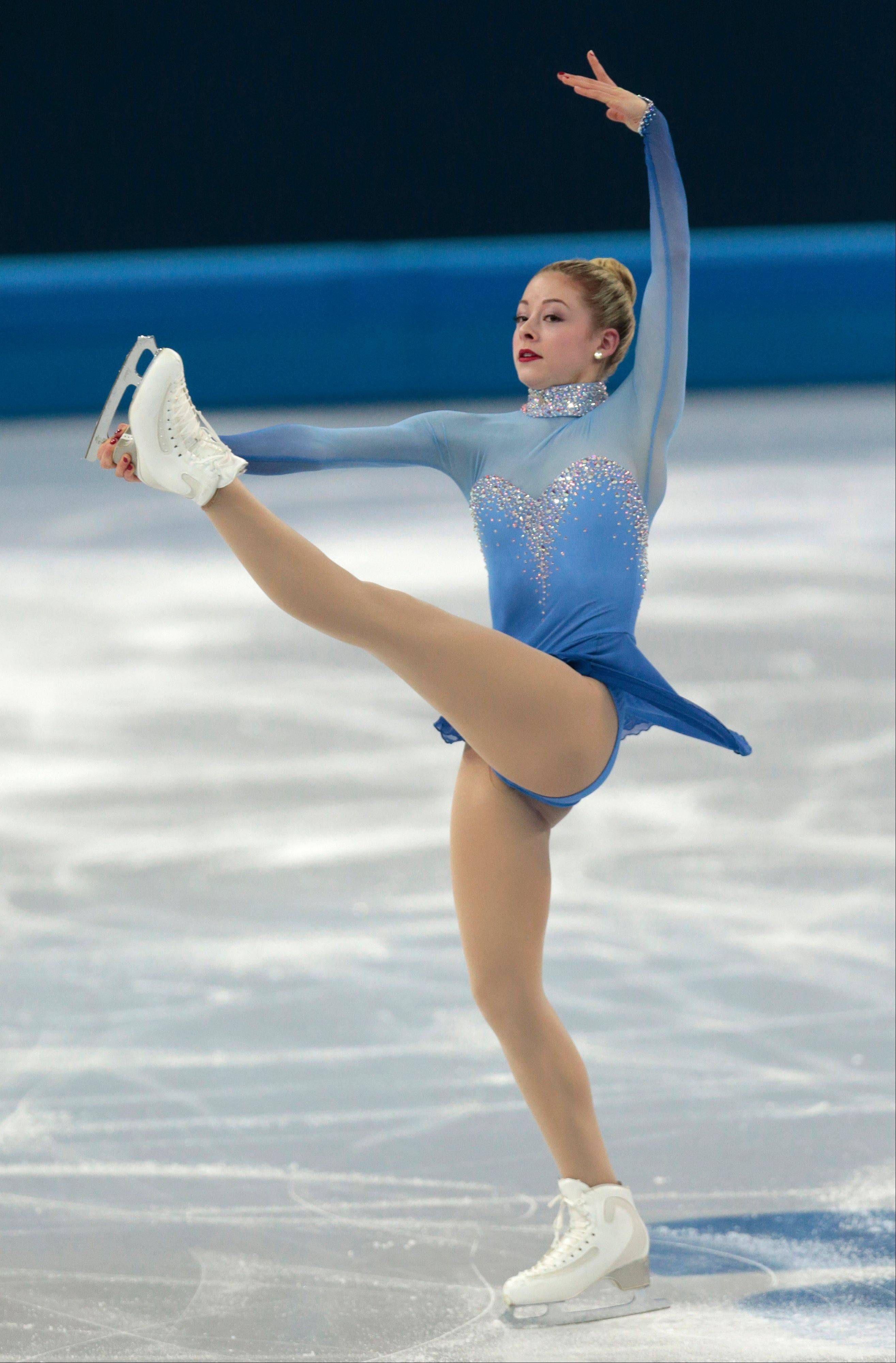 Gracie Gold of the United States competes in the women's team free skate figure skating competition at the Iceberg Skating Palace during the 2014 Winter Olympics, Sunday, Feb. 9, 2014, in Sochi, Russia.