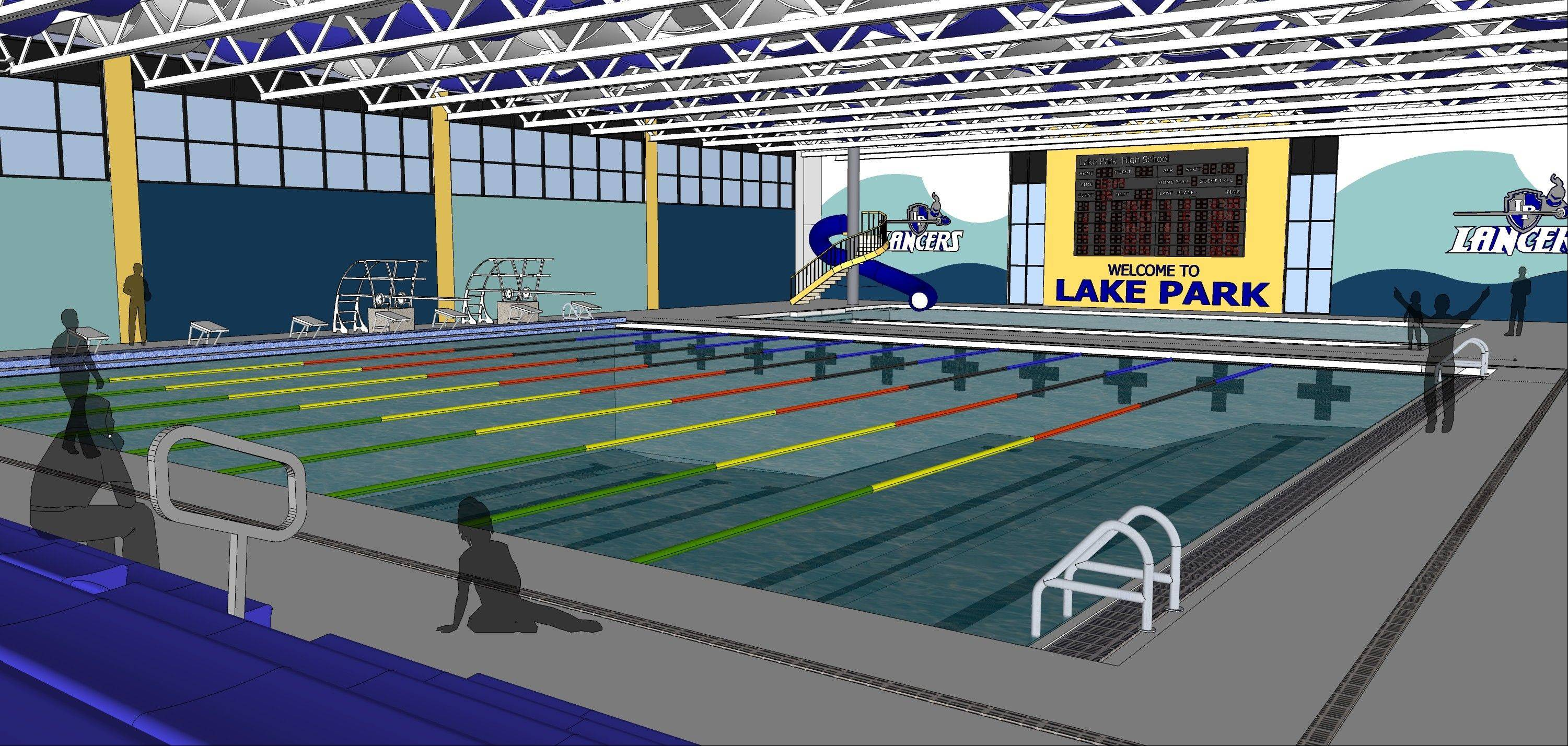 Lake Park High School District 108 is asking voters to fund the construction and operation of an aquatic facility that could be built at the school's east campus by August 2015. The facility would include a 25-yard, eight-lane competition pool and a smaller pool to be filled with warmer water for athlete rehabilitation and toddler swimming lessons.