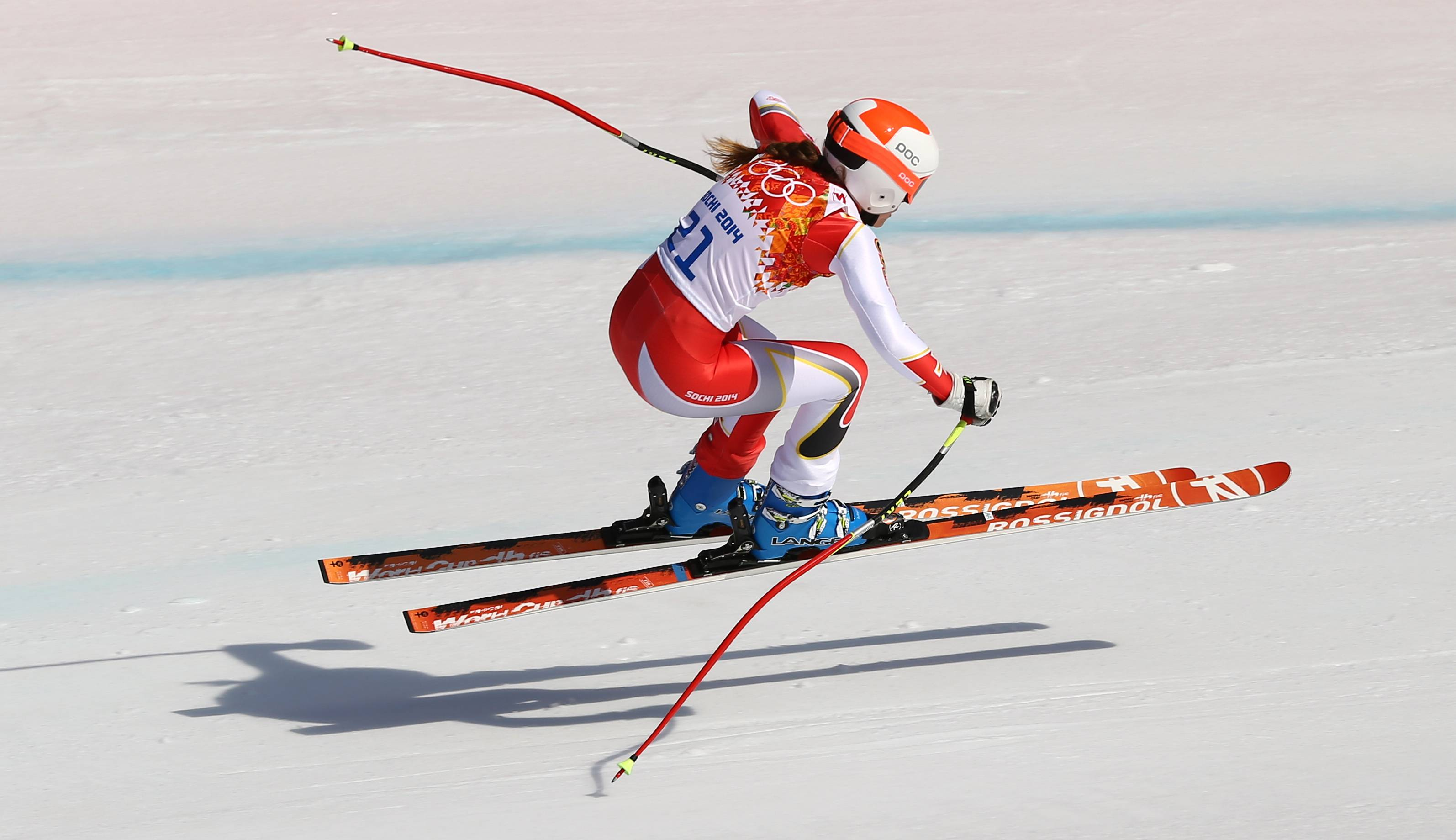 Canada's Marie-Michele Gagnon makes a jump during the downhill portion of the women's supercombined.