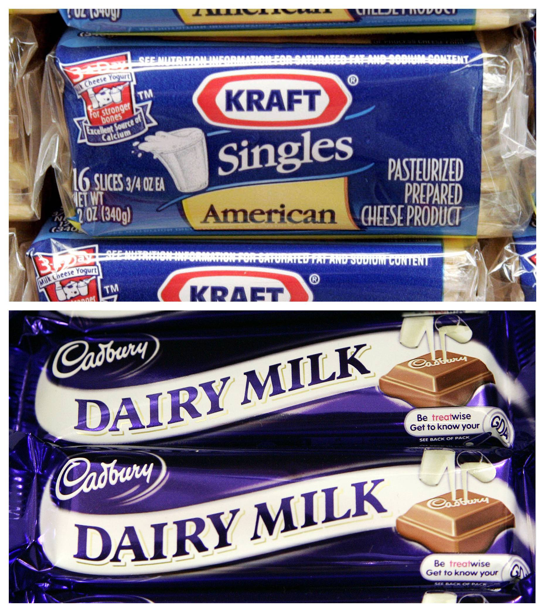 In this combo made from file photos, packages of Kraft American cheese singles at a store in Chicago, top, and Cadbury Dairy Milk chocolate bars at a store in London are shown.