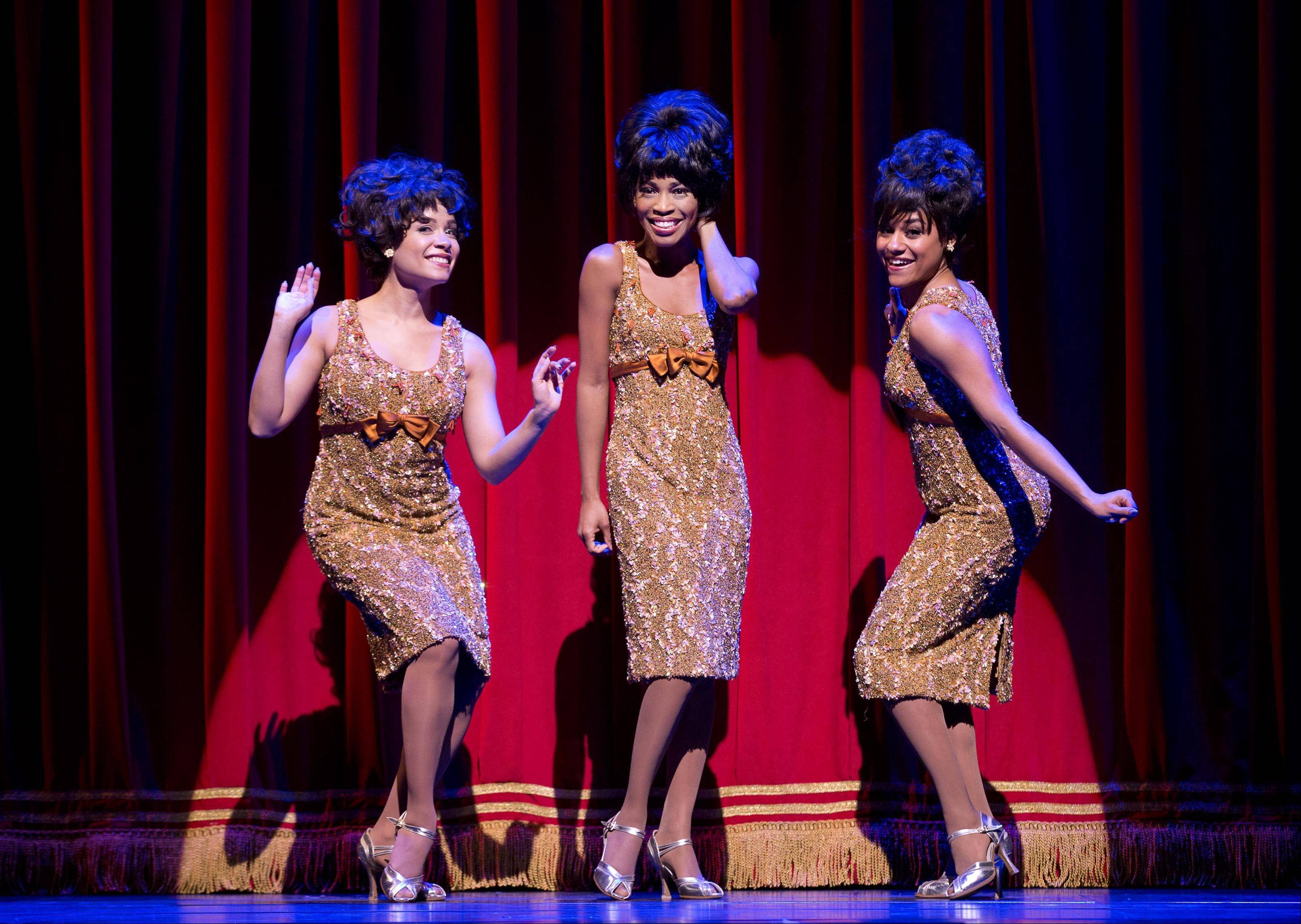 "Sydney Morton, left, plays Forence Ballard, Valisia LeKae is Diana Ross and Ariana DeBose portrays Mary Wilson of The Supremes in ""Motown: The Musical,"" performing at the Lunt-Fontanne Theatre in New York. Producers of ""Motown the Musical"" said Thursday that the show's national tour will play Detroit's Fisher Theatre."