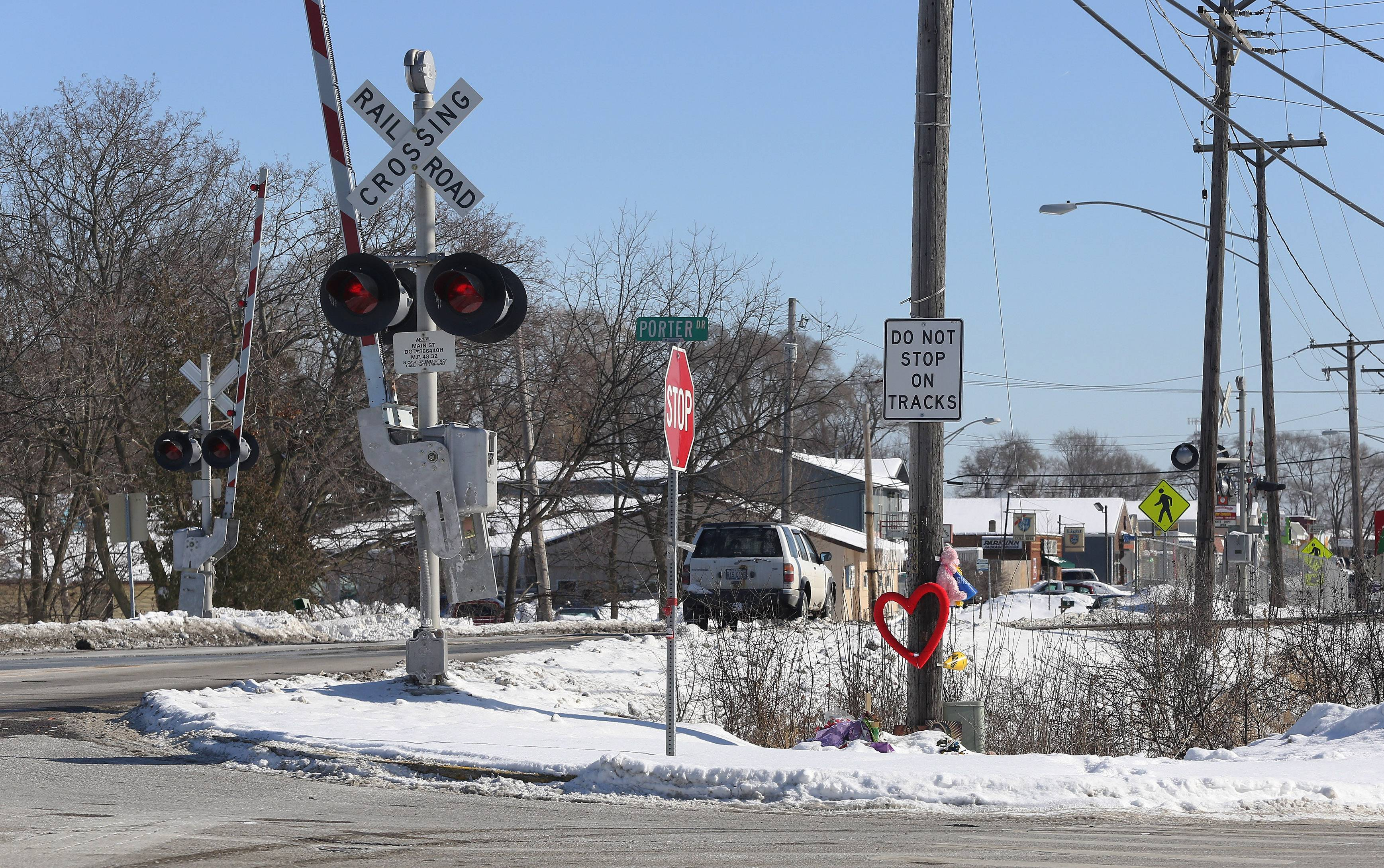 Memorials at scene of crash that killed Francisco Carranza and his daughter, Alyssa, in Round Lake Park. Police said he drove in front of a Metra train at Route 134 and Porter Drive on Jan. 22. Police said Carranza had a blood-alcohol level of .32 percent -- four time the legal limit -- when the collision occurred.