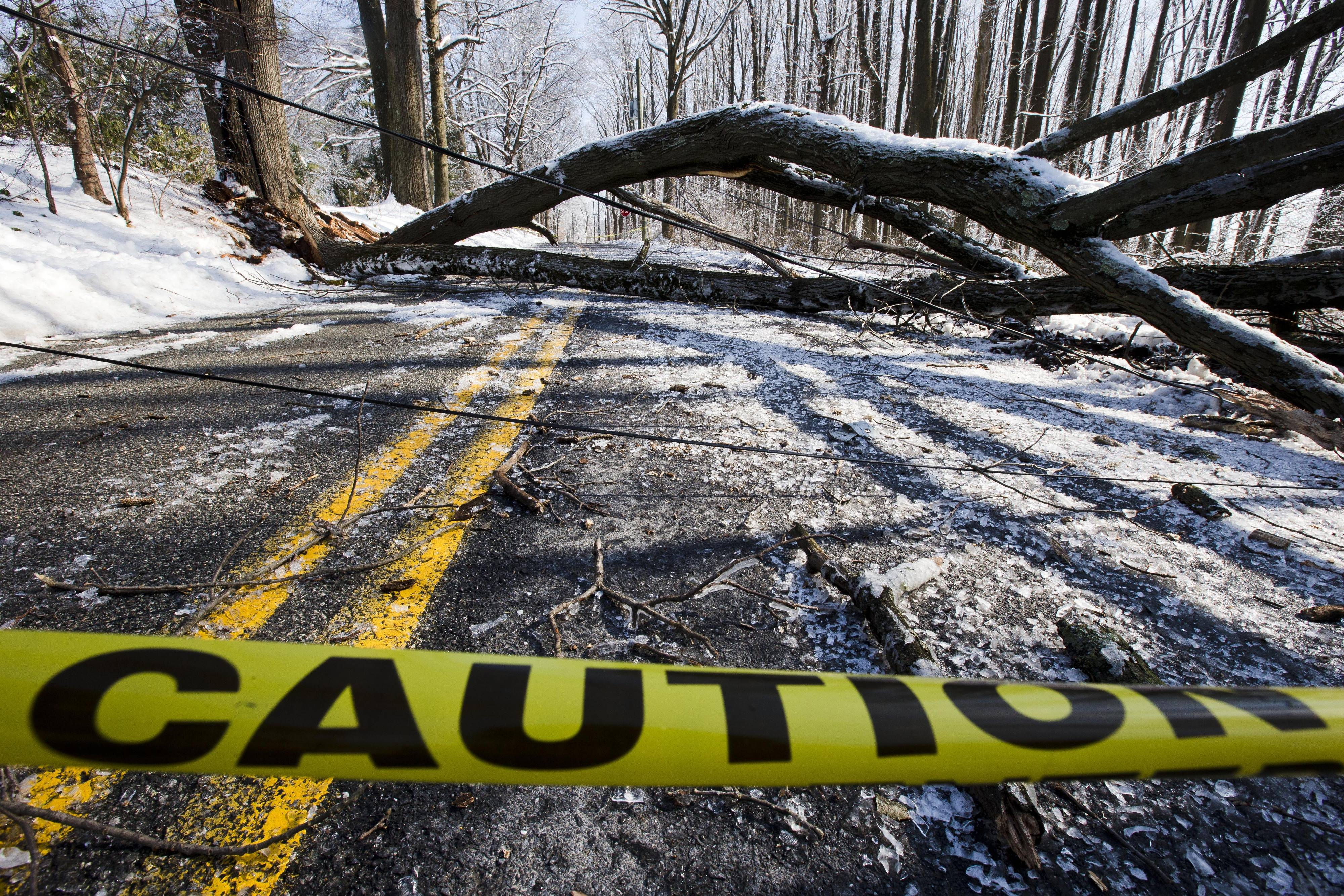 An ice covered tree and utility lines block a roadway Friday, Feb. 7, 2014, in Exton, Pa. Utility crews in Pennsylvania are still trying to restore power to more than 320,000 customers who remain without power two days after an ice storm downed trees and power lines.