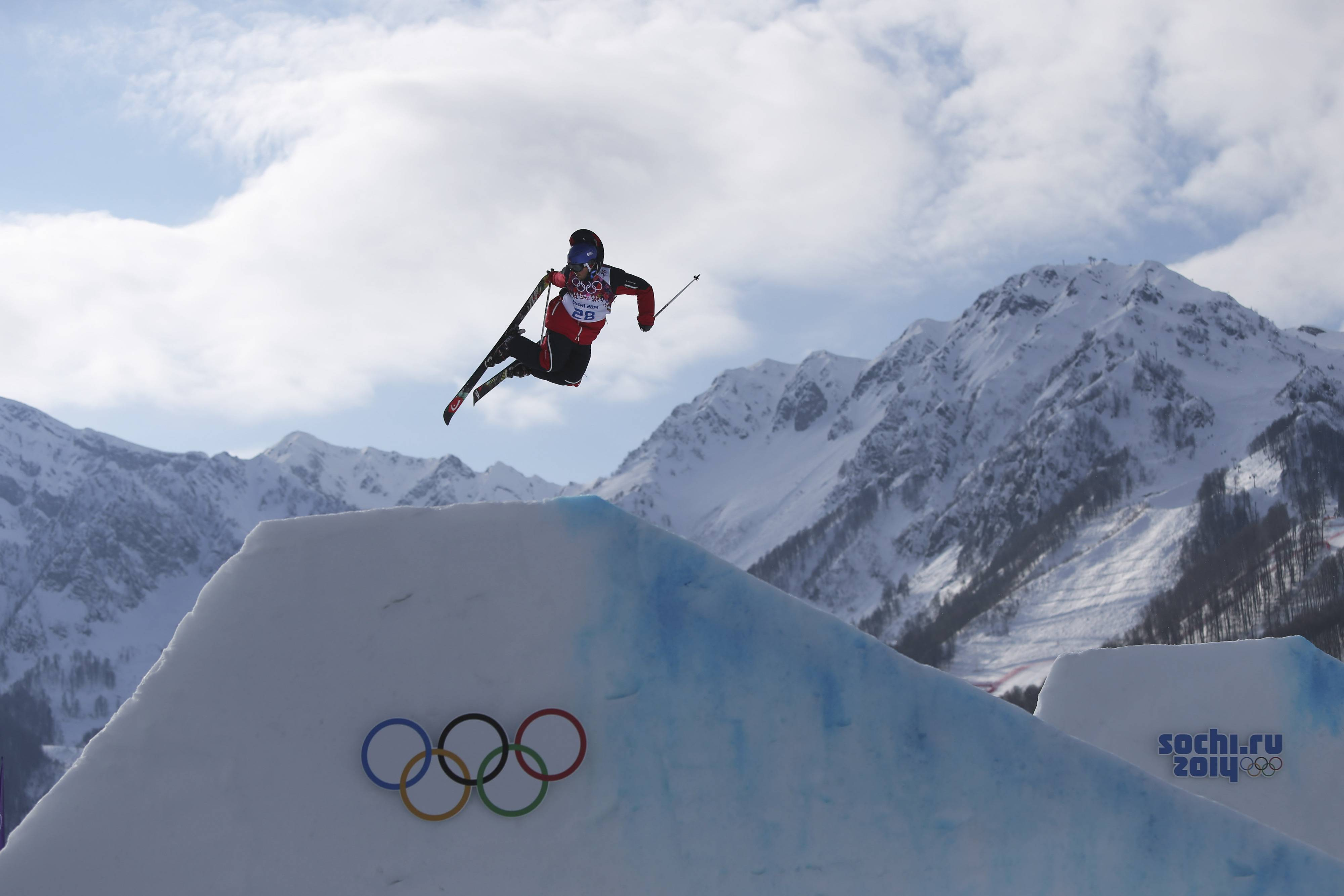 Norway's Per Kristian Hunder takes a jump during freestyle skiing slopestyle training at the 2014 Winter Olympics, Monday, Feb. 10, 2014, in Krasnaya Polyana, Russia.
