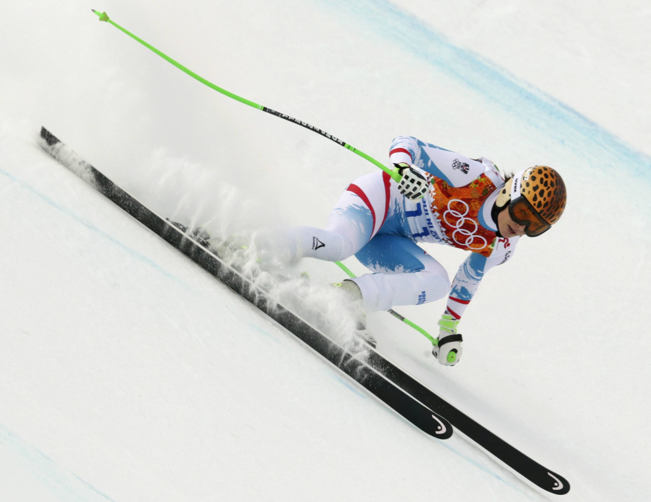 Austria's Anna Fenninger makes a turn during the downhill portion of the women's supercombined.