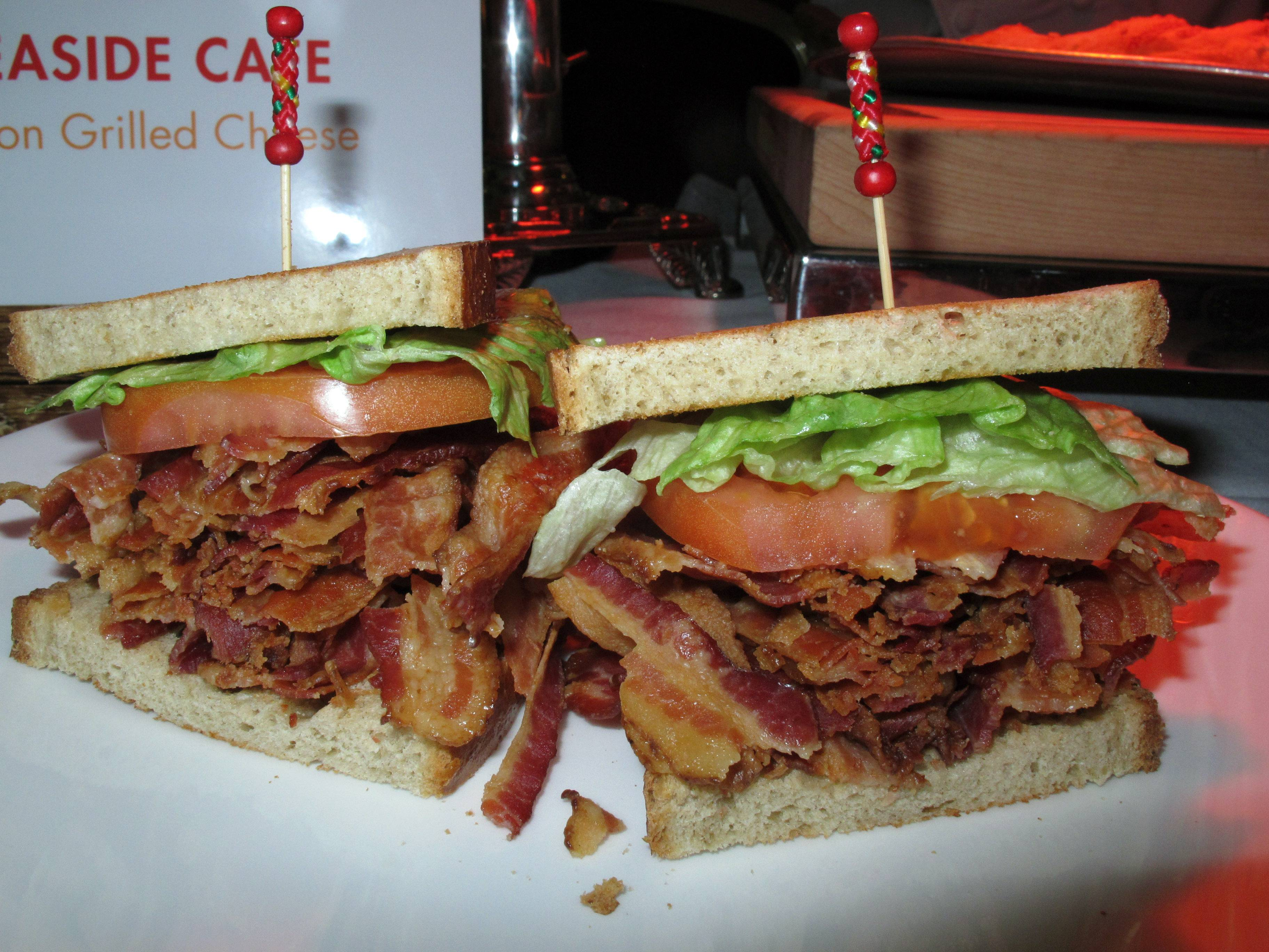 A bacon-lettuce-and-tomato sandwich made with an entire pound of bacon at the Tropicana Casino and Resort in Atlantic City, N.J. The casino's Bacon Week festival includes unusual offerings like bacon milk shakes, bacon cupcakes, bacon bloody Marys, beer, vodka and bourbon, and even bacon-flavored toothpaste, dental floss and lip balm.