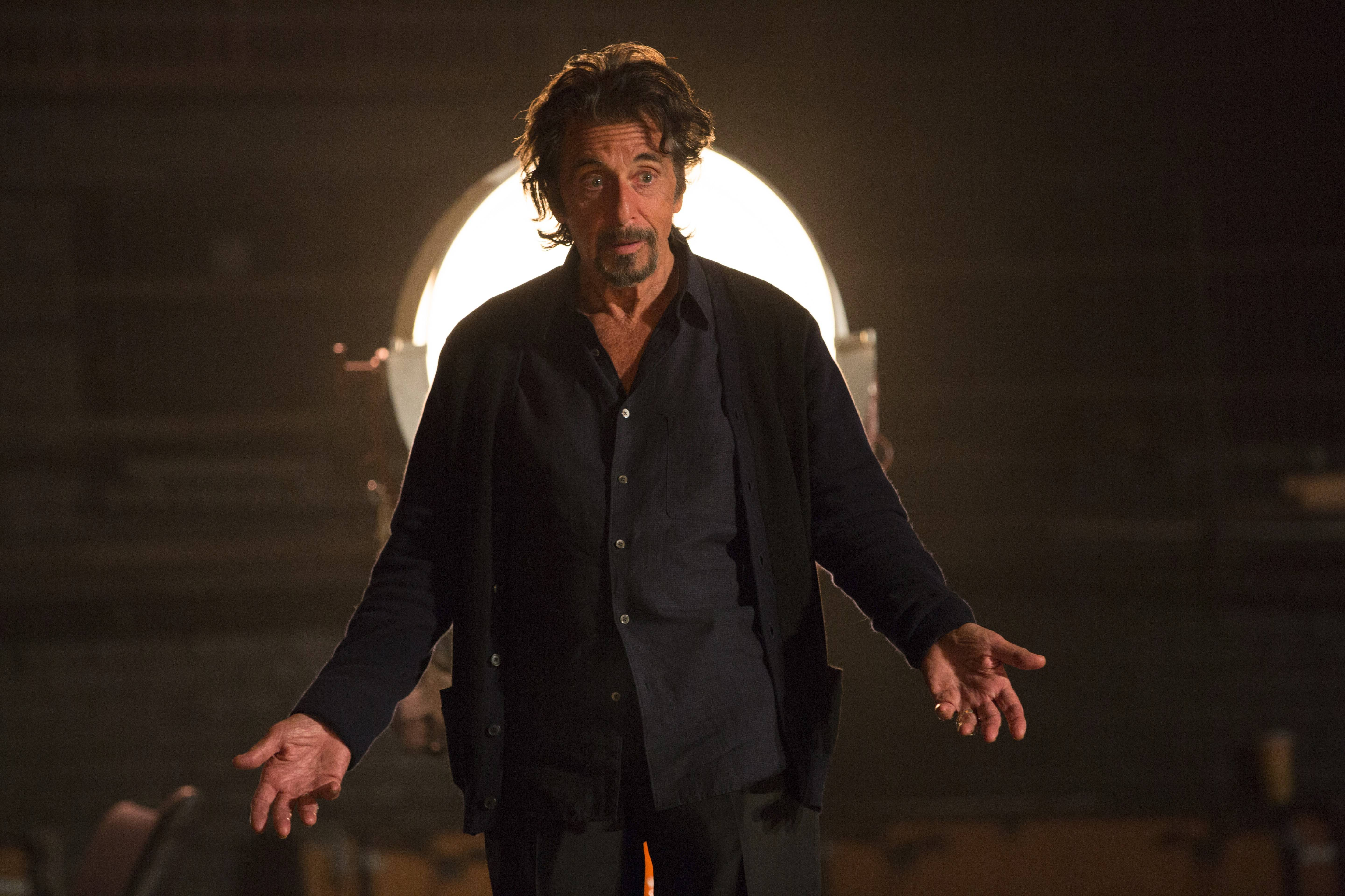 "Al Pacino plays an aging actor who can no longer distinguish reality from make believe in Barry Levinson's tepid tragic comedy ""The Humbling."""