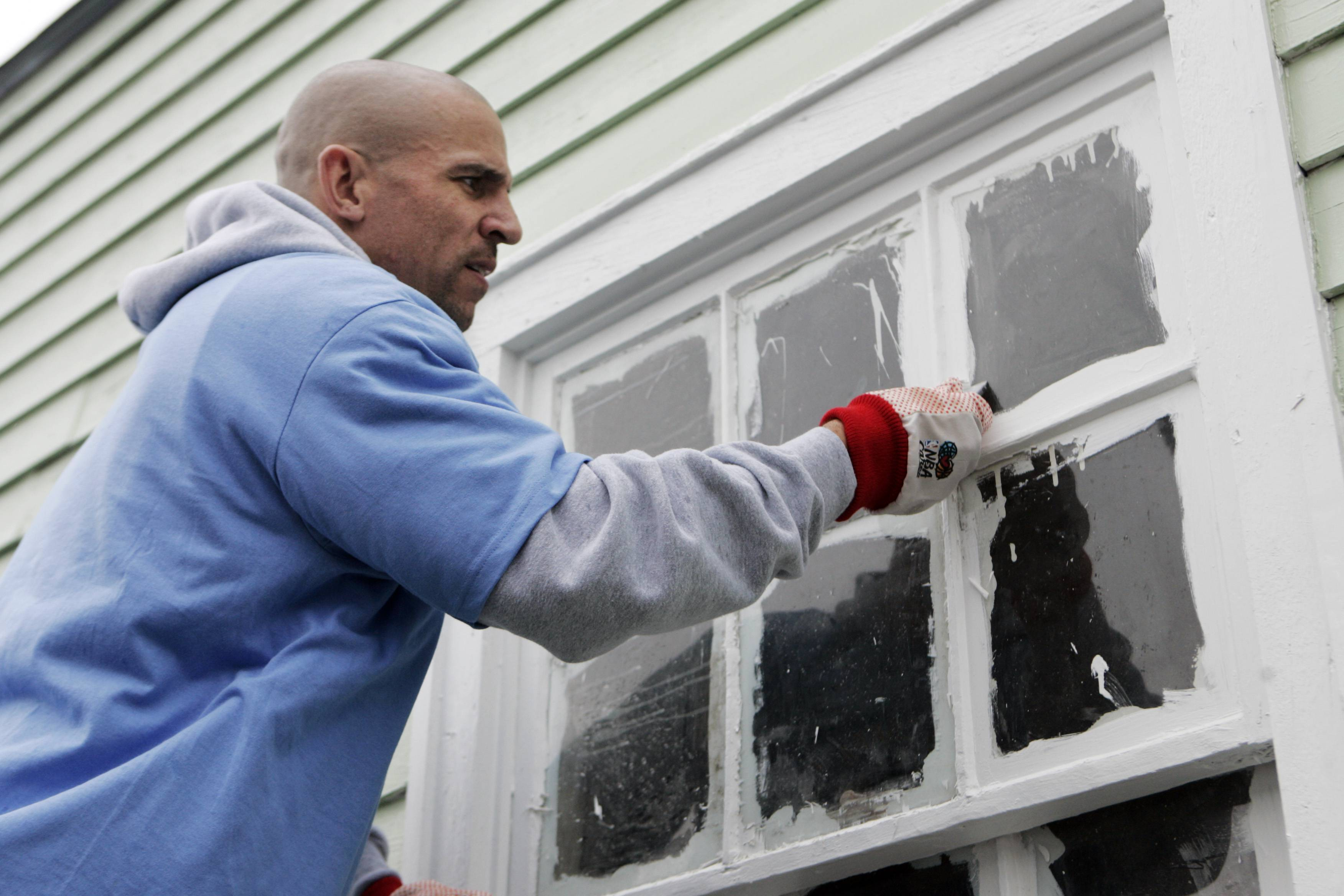 FILE - In this Feb. 15, 2008 file photo, NBA basketball star Jason Kidd works on a home in the Lower 9th ward of New Orleans. This week marks six years since NBA All-Stars ventured into New Orleans neighborhoods devastated by Hurricane Katrina to lend a hand with rebuilding. (AP Photo/Bill Haber, File)